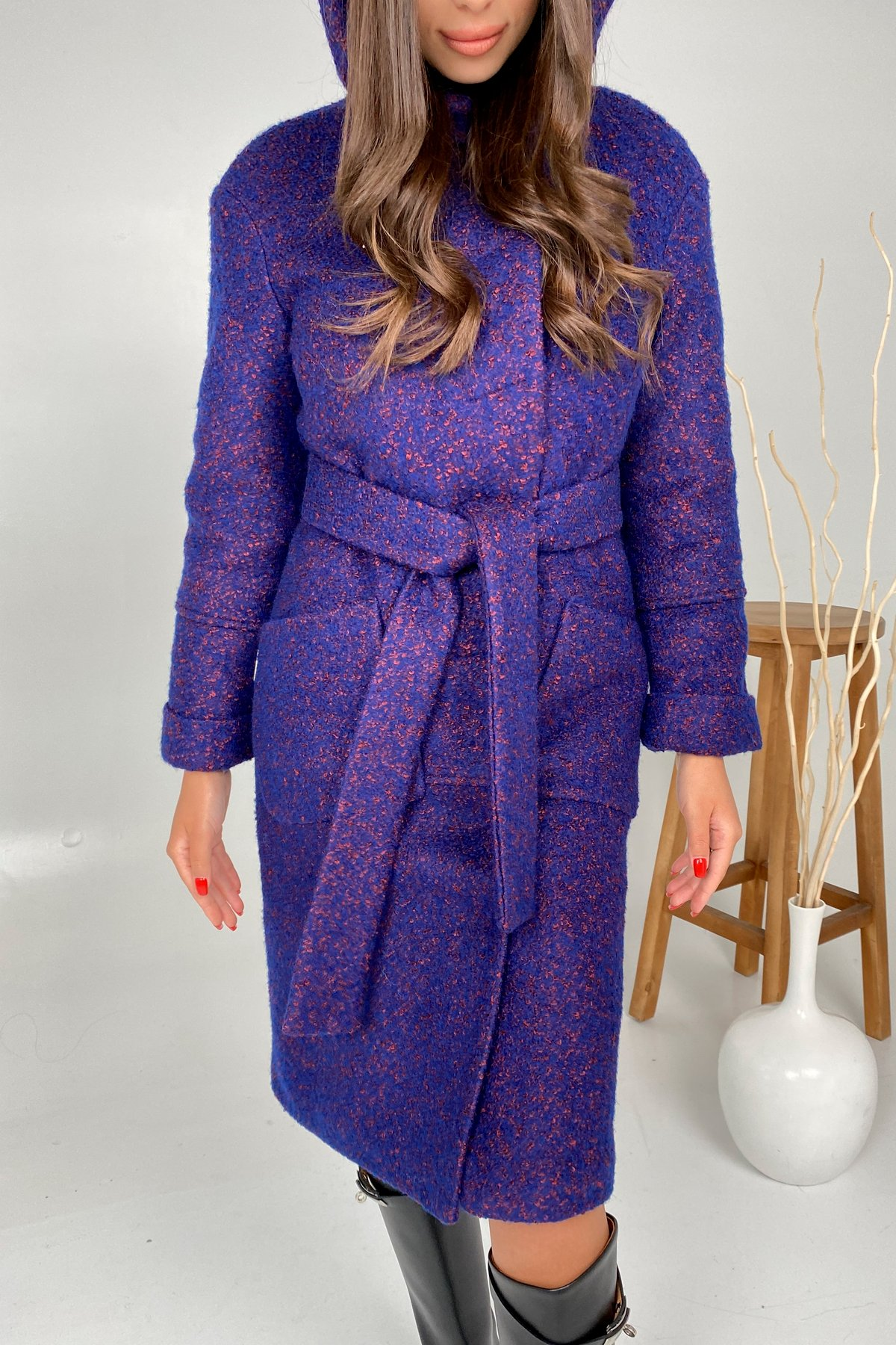 Пальто зима шерсть букле Анита 8320 АРТ. 44770 Цвет: Т.синий/марсал - фото 4, интернет магазин tm-modus.ru