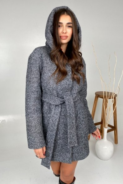 Анита шерсть варенка зима без меха пальто 9936 Цвет: Серый Темный LW-47