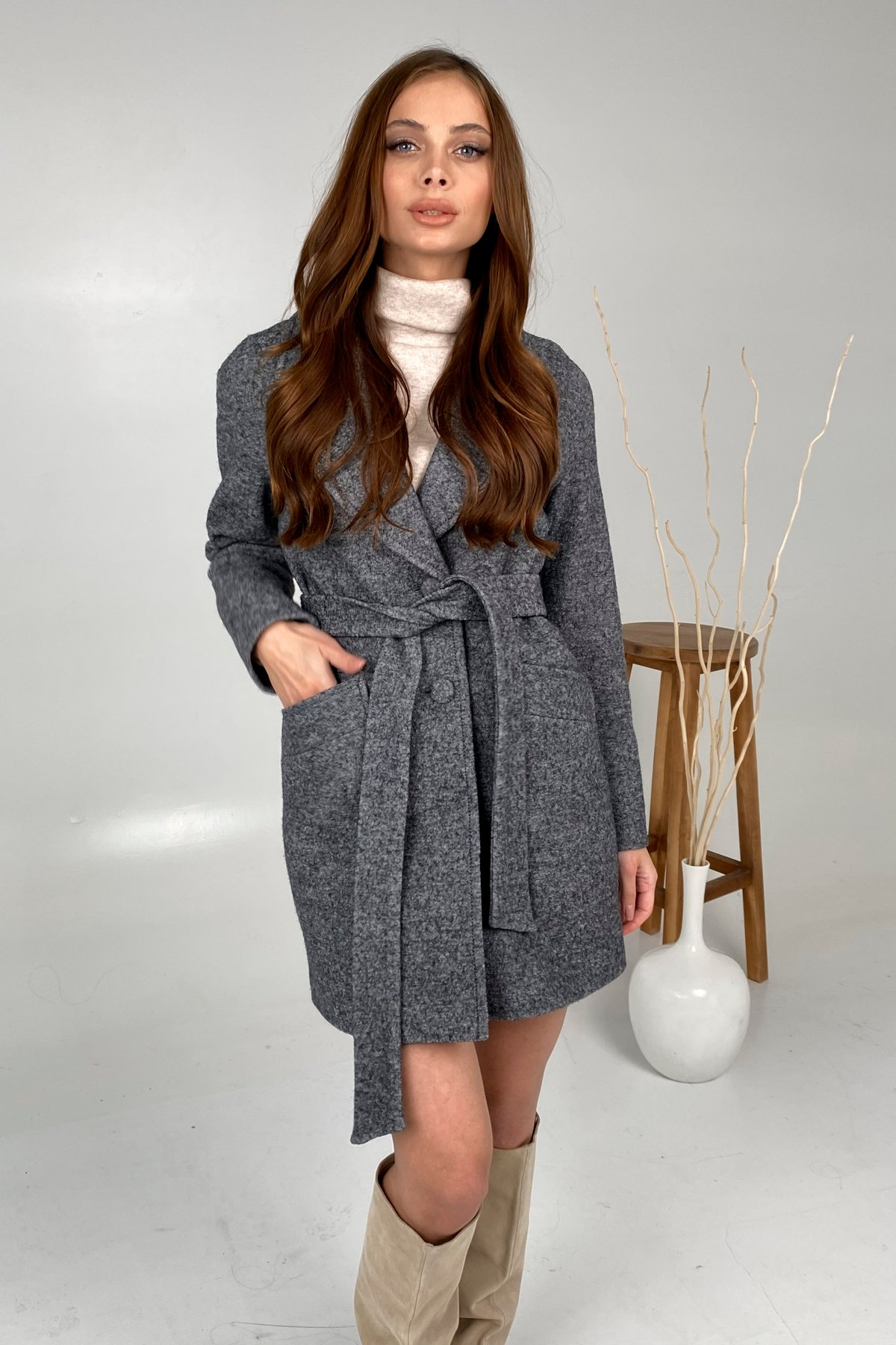 Вейсона шерсть варенка пальто 9825 АРТ. 46290 Цвет: Серый - фото 2, интернет магазин tm-modus.ru