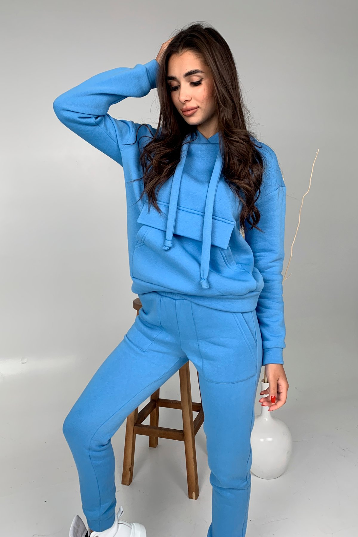 Бруклин  прогулочный костюм 3х нитка с начесом  9663 АРТ. 46462 Цвет: Голубой 1 - фото 2, интернет магазин tm-modus.ru