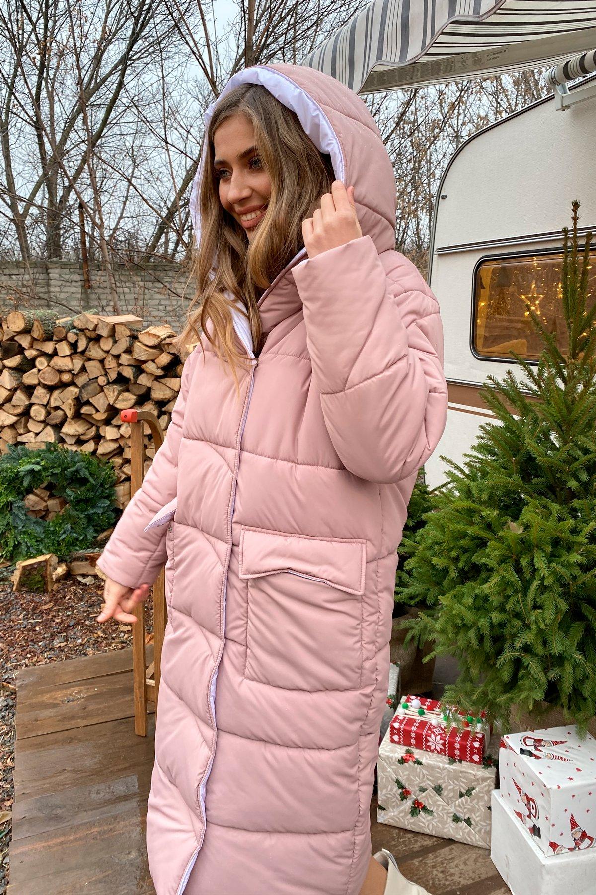 Блу теплый пуховик из  плащевой ткани 10260 АРТ. 46558 Цвет: Пудра/белый жемчуг - фото 7, интернет магазин tm-modus.ru