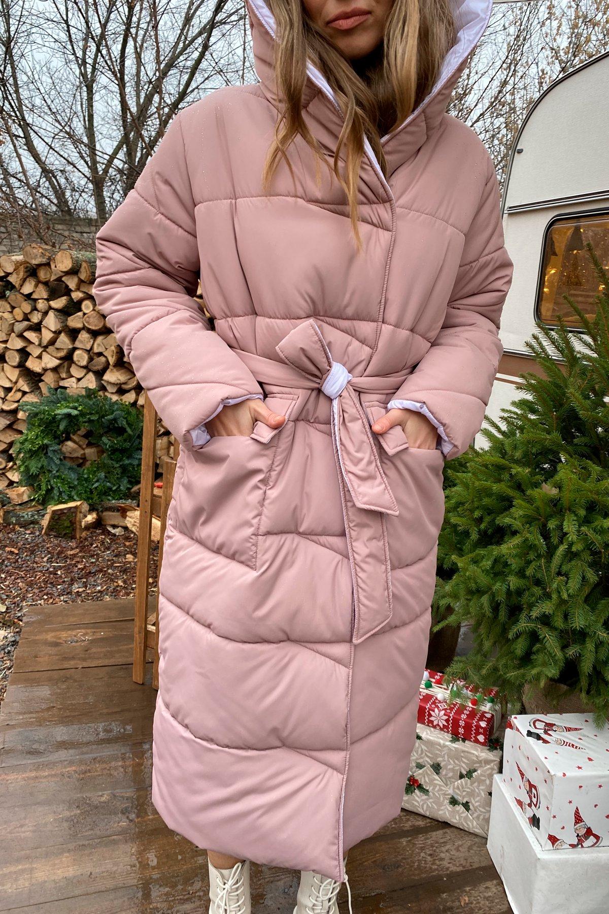 Блу теплый пуховик из  плащевой ткани 10260 АРТ. 46558 Цвет: Пудра/белый жемчуг - фото 9, интернет магазин tm-modus.ru
