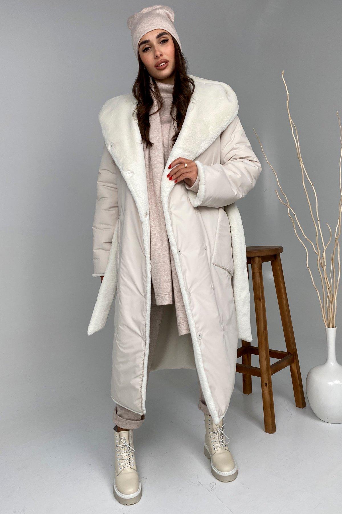 Сноу  теплое двухстороннее пальто из  еко меха и плотной  плащевки 9956 АРТ. 46243 Цвет: Молоко - фото 1, интернет магазин tm-modus.ru