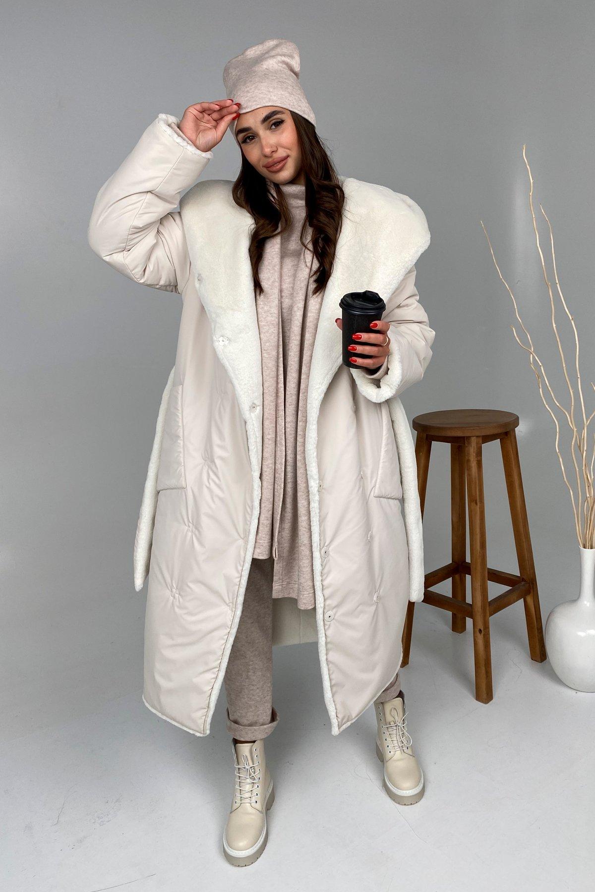 Сноу  теплое двухстороннее пальто из  еко меха и плотной  плащевки 9956 АРТ. 46243 Цвет: Молоко - фото 3, интернет магазин tm-modus.ru