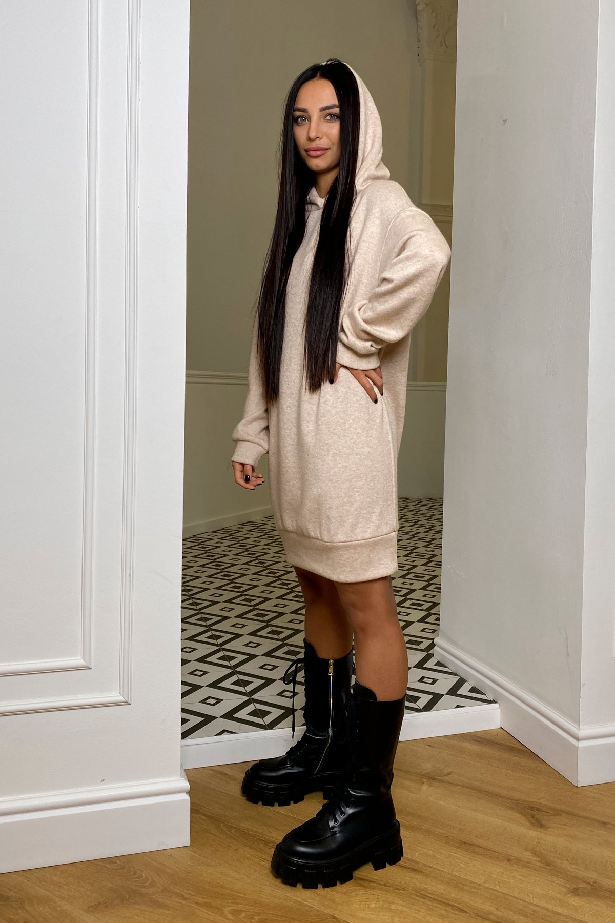 Дея  платье трикотажное из ангоры 10071 АРТ. 46383 Цвет: Бежевый 2 - фото 3, интернет магазин tm-modus.ru