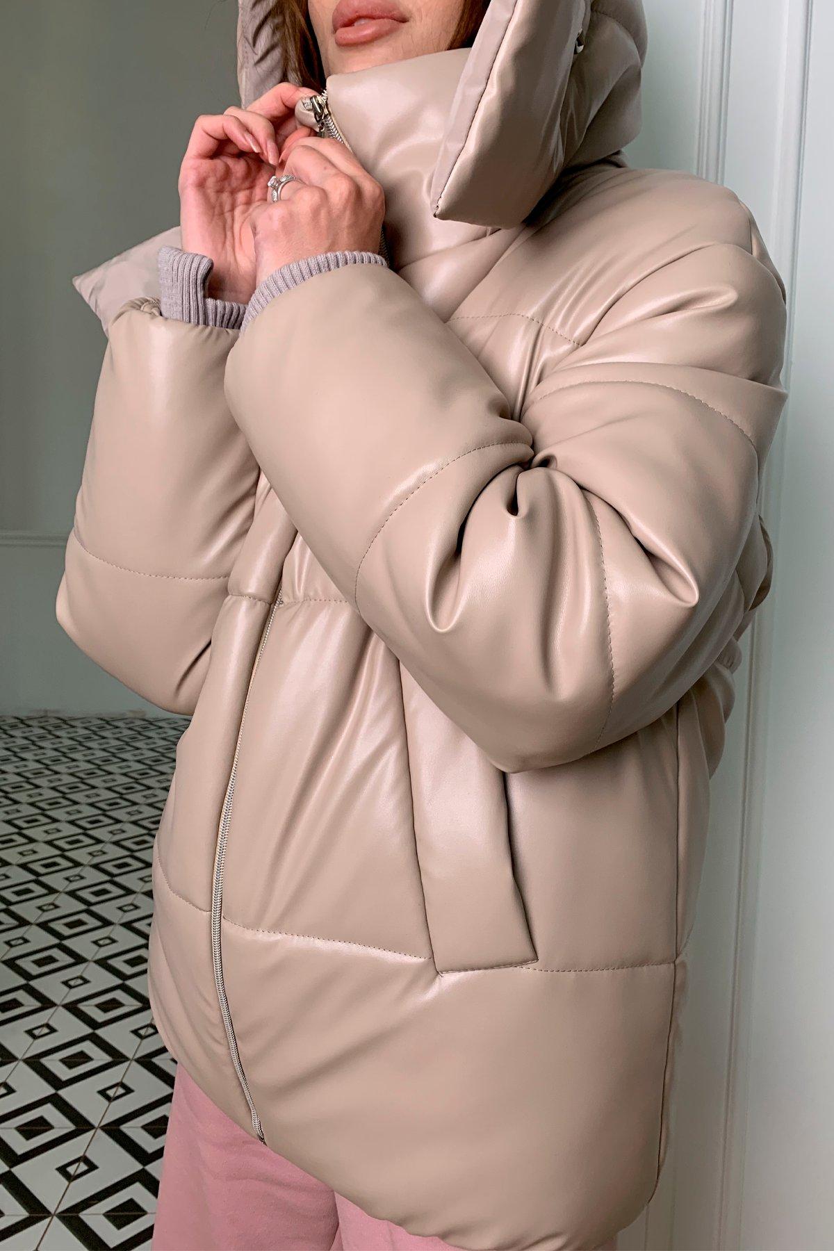 Рич пуховик из экокожи 10058 АРТ. 46593 Цвет: Бежевый2/бежевый - фото 3, интернет магазин tm-modus.ru