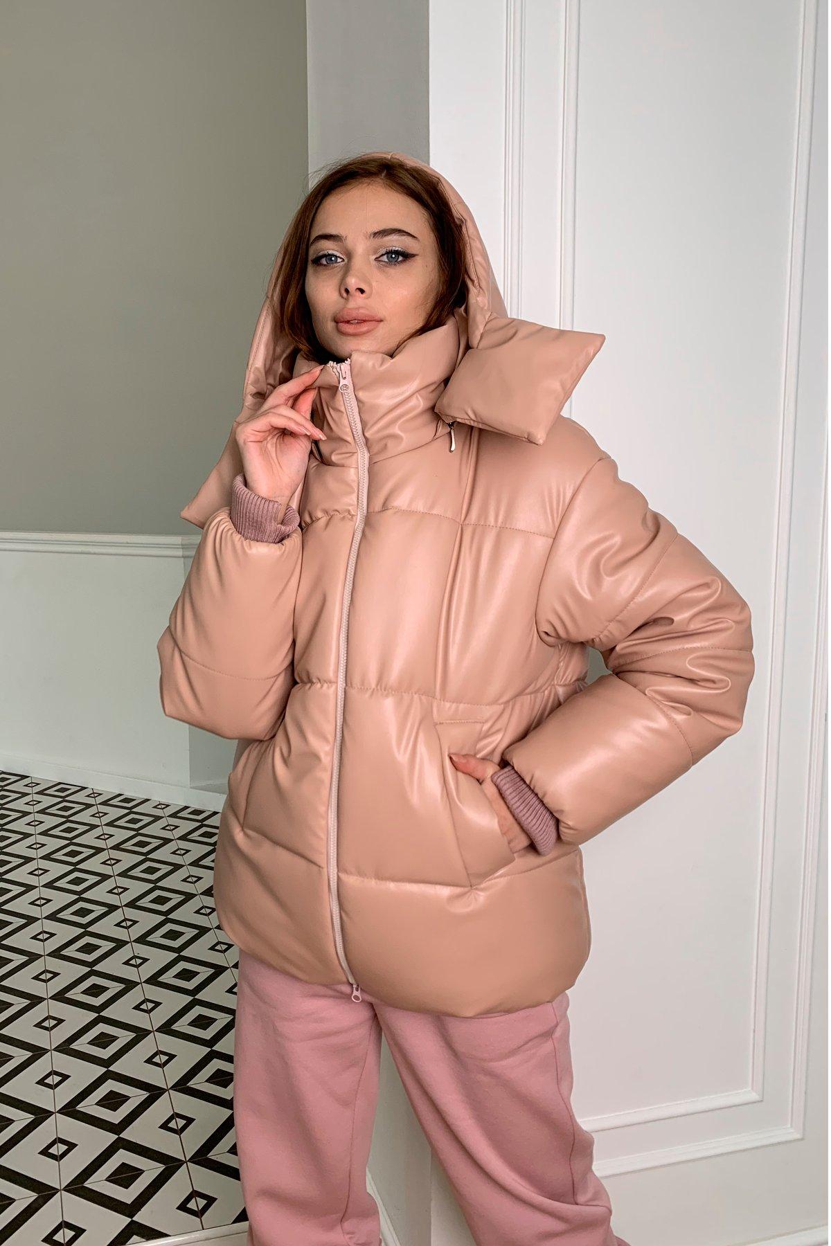 куртки оптом Украина  Рич пуховик из экокожи 10058