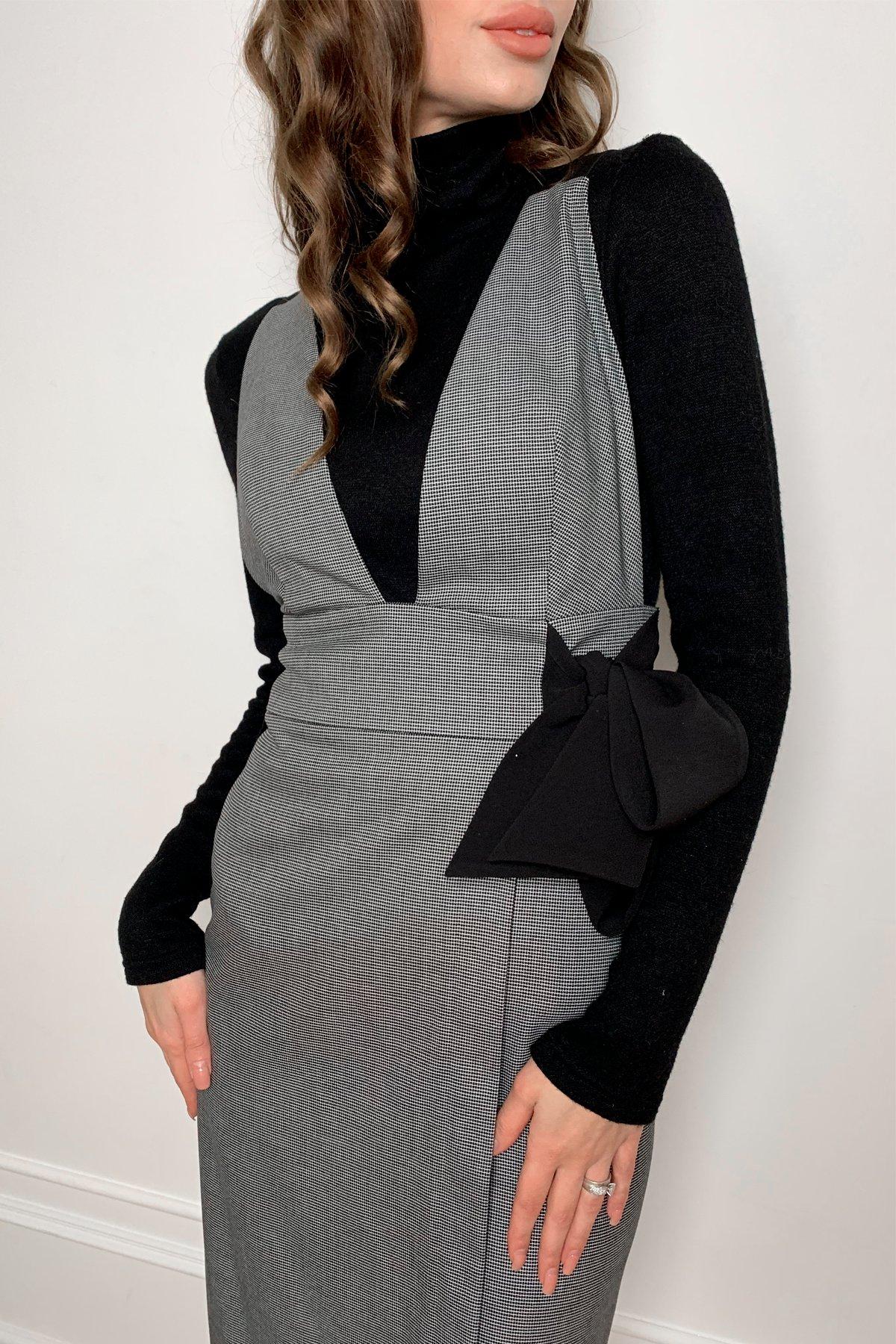 Фила платье костюмка принт стрейч платье 10026 АРТ. 46321 Цвет: Клетка мел черн/бел - фото 2, интернет магазин tm-modus.ru