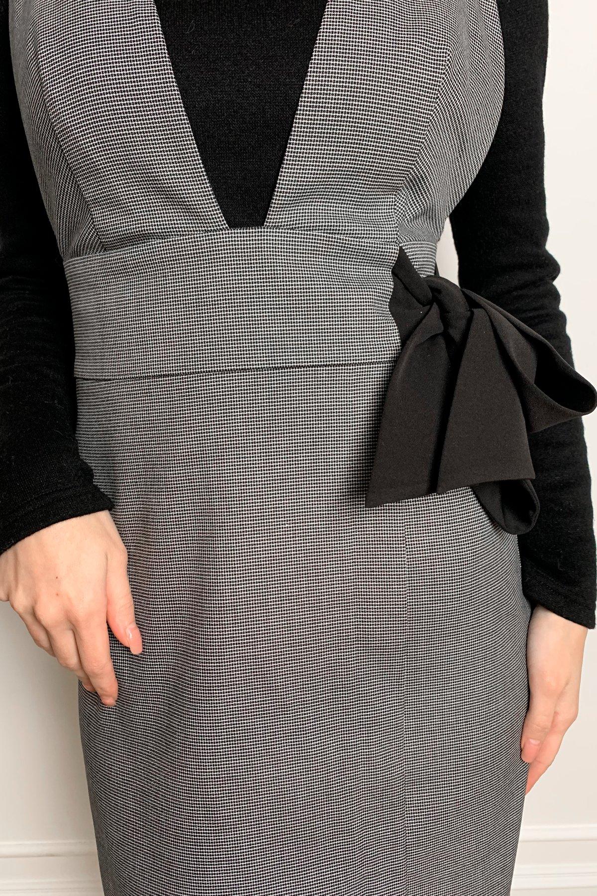 Фила платье костюмка принт стрейч платье 10026 АРТ. 46321 Цвет: Клетка мел черн/бел - фото 3, интернет магазин tm-modus.ru