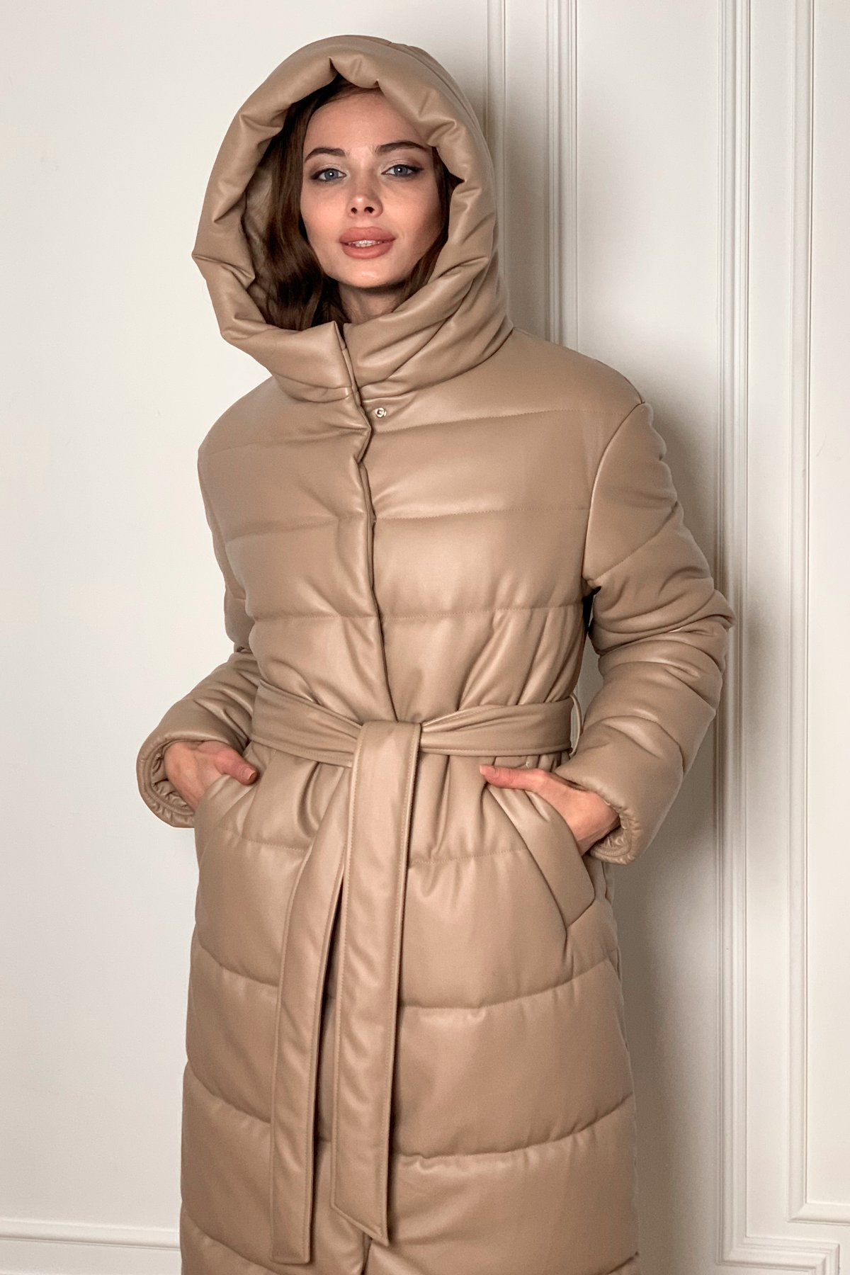 женские куртки оптом  Сити  теплый пуховик из эко кожи  9995
