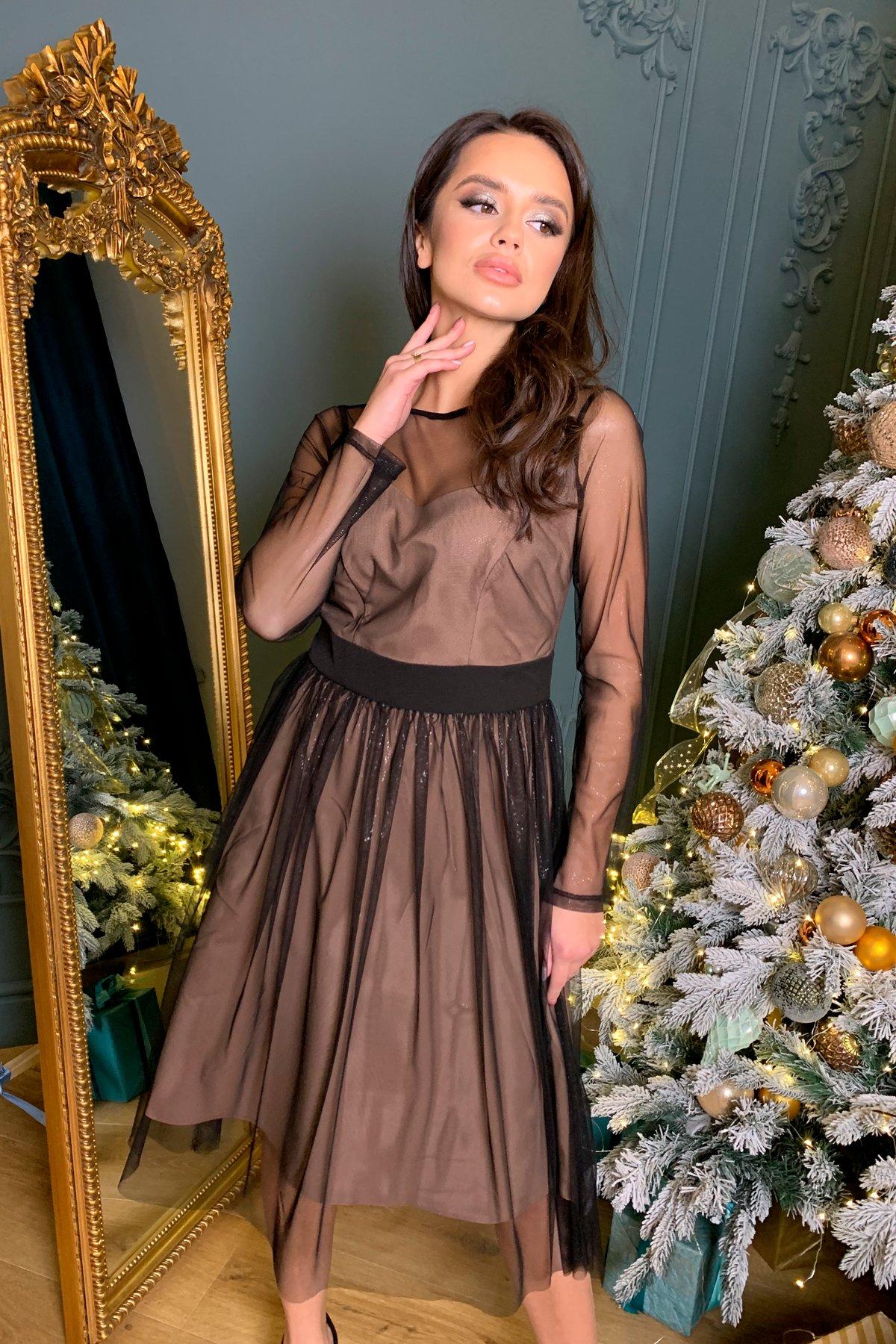 Платье миди длины с юбкой солнце-клеш Роял 8681 АРТ. 45005 Цвет: Черный/серебро - фото 1, интернет магазин tm-modus.ru