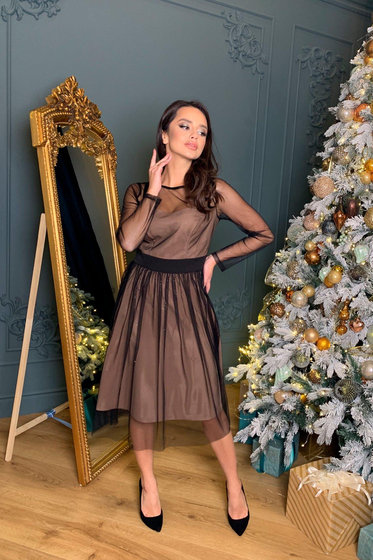 Платье миди длины с юбкой солнце-клеш Роял 8681 АРТ. 45005 Цвет: Черный/серебро - фото 2, интернет магазин tm-modus.ru