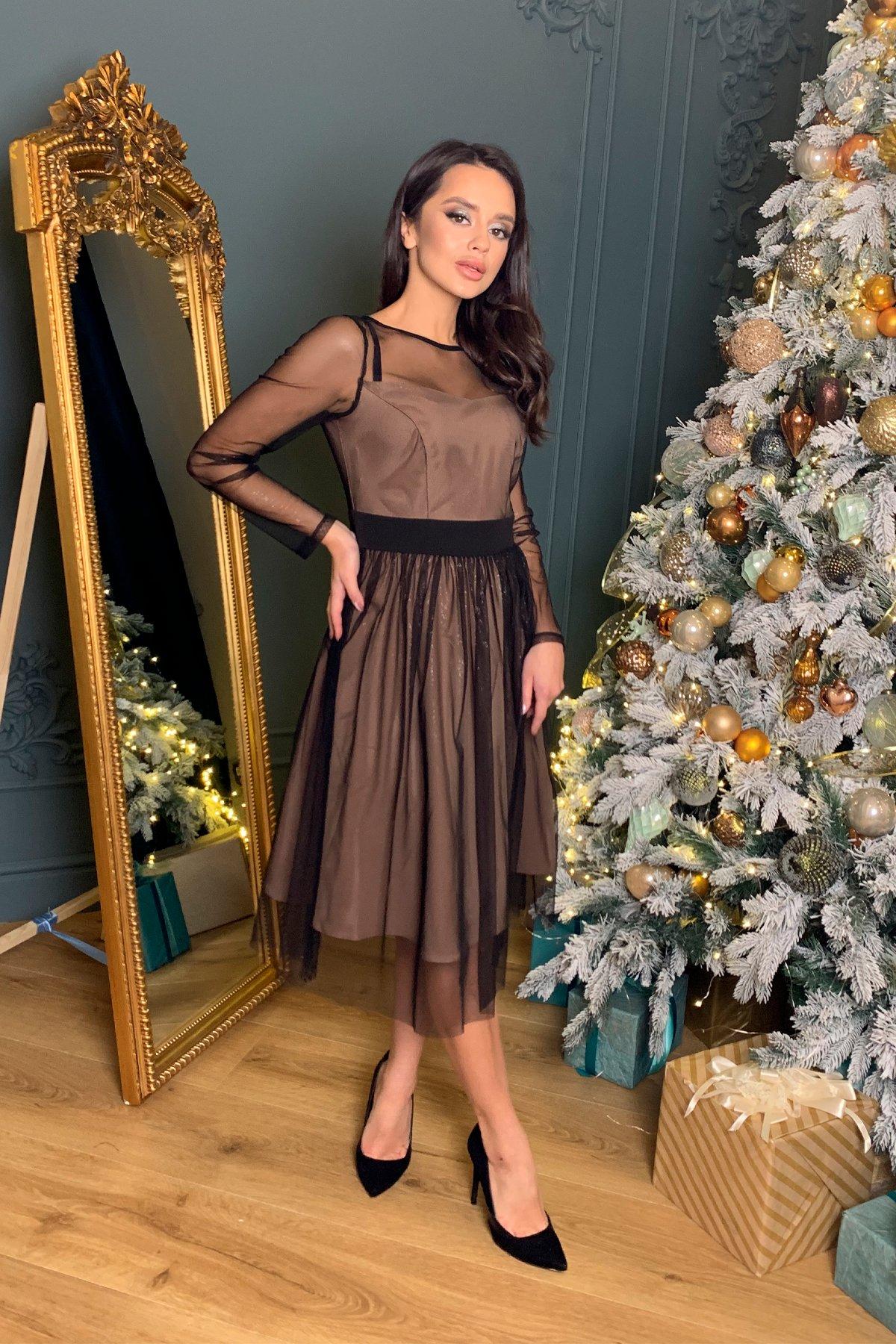Платье миди длины с юбкой солнце-клеш Роял 8681 АРТ. 45005 Цвет: Черный/серебро - фото 3, интернет магазин tm-modus.ru