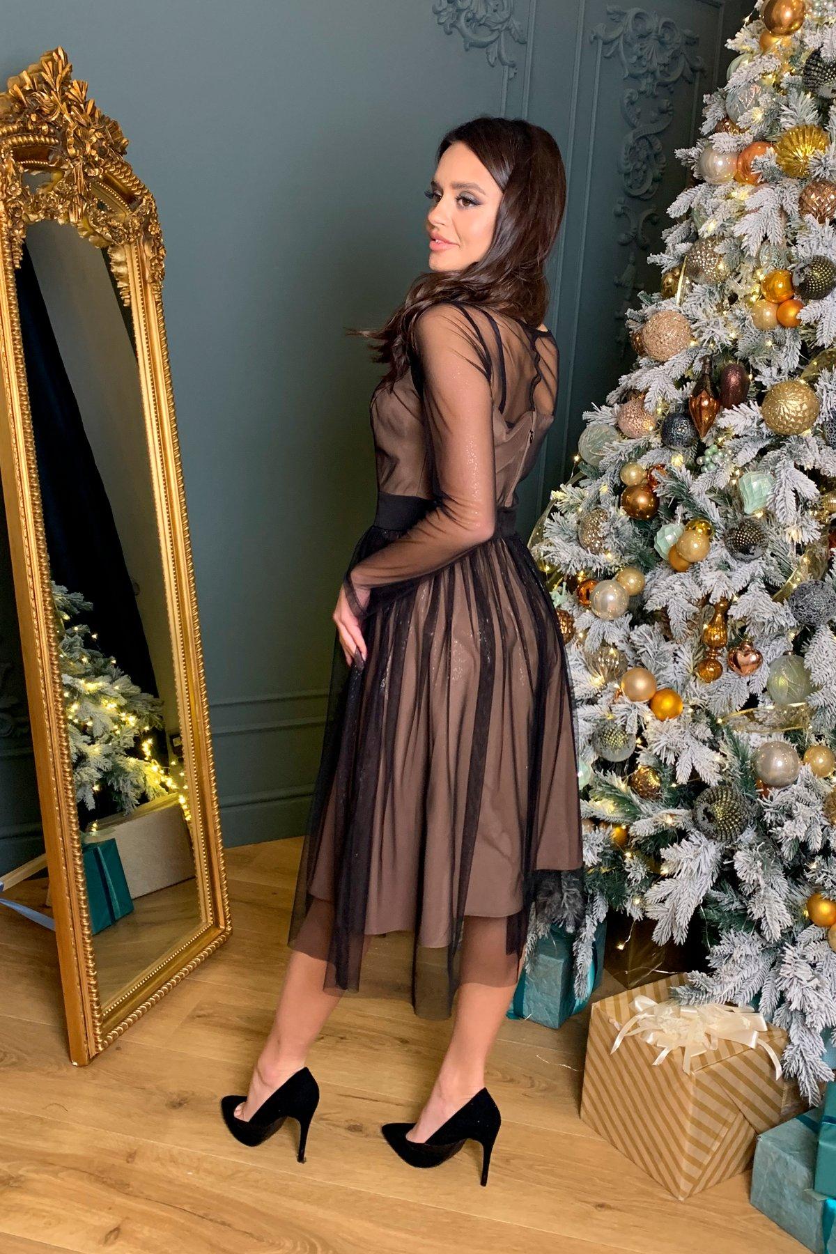 Платье миди длины с юбкой солнце-клеш Роял 8681 АРТ. 45005 Цвет: Черный/серебро - фото 4, интернет магазин tm-modus.ru