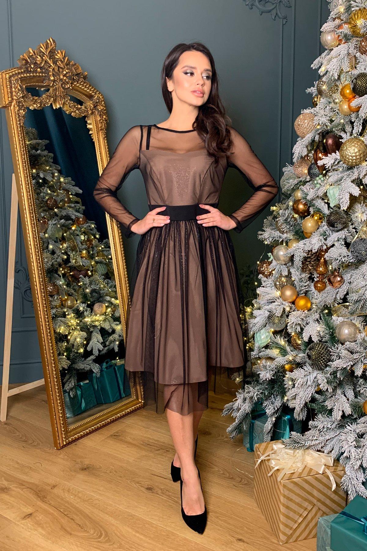 Купить платье оптом Украина Modus Платье миди длины с юбкой солнце-клеш Роял 8681