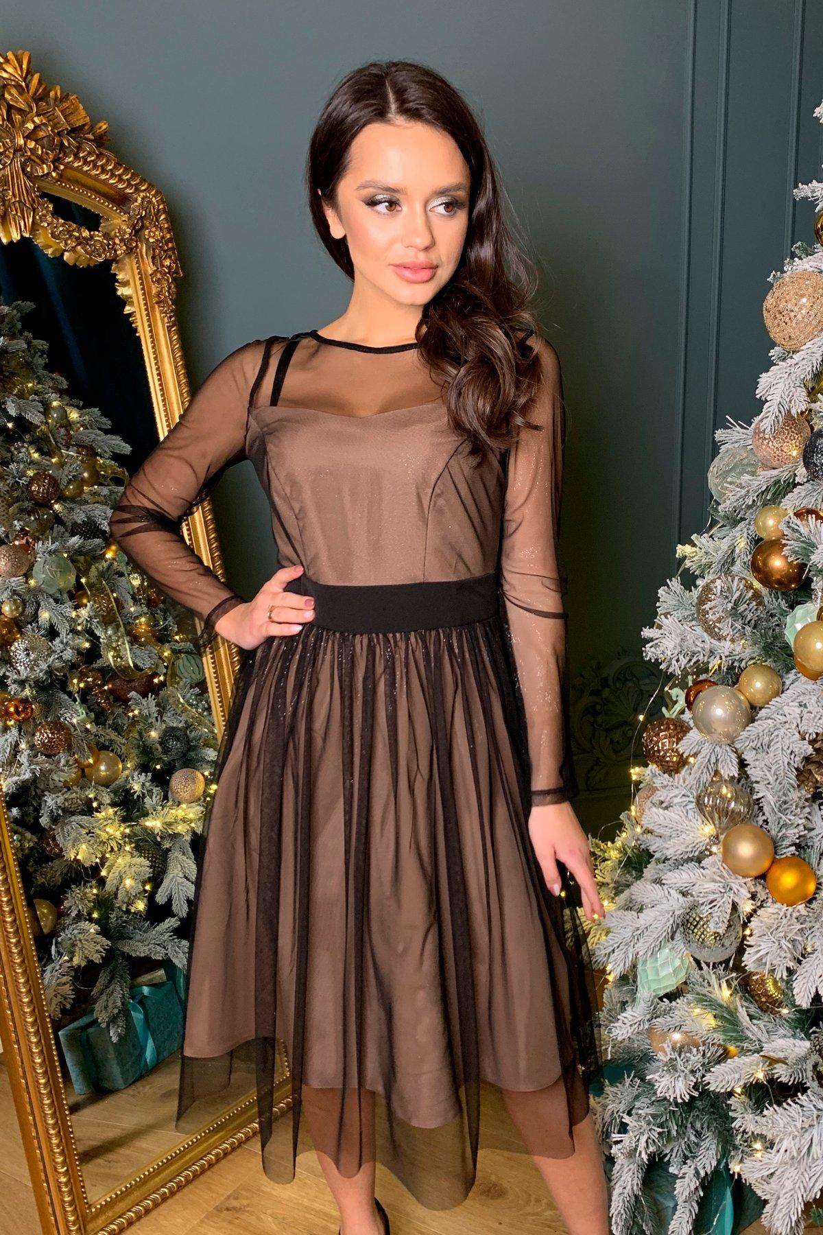 Платье миди длины с юбкой солнце-клеш Роял 8681 Цвет: Черный/серебро