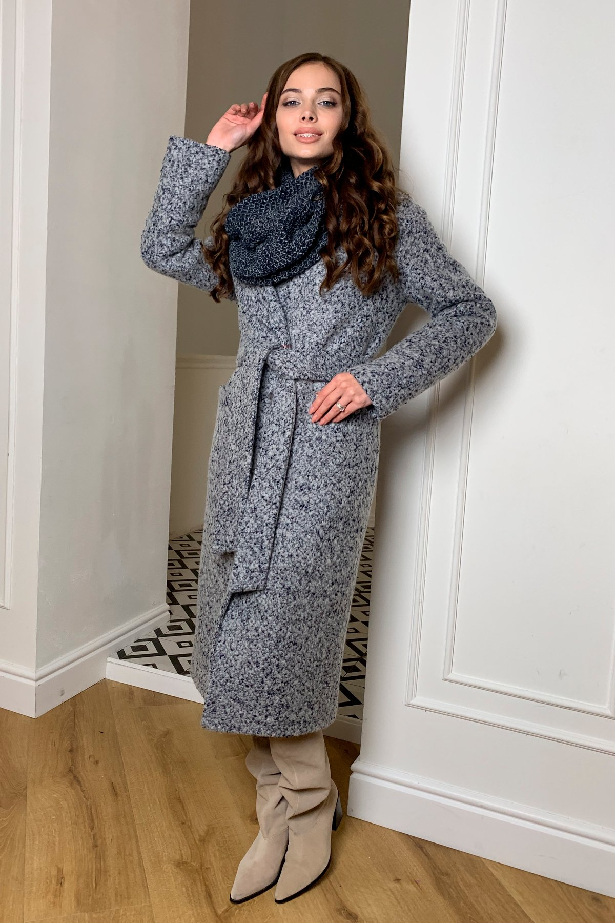 Теплое зимнее пальто буклированная шерсть Вива макси 8349 АРТ. 44516 Цвет: Серый/голубой 60 - фото 1, интернет магазин tm-modus.ru