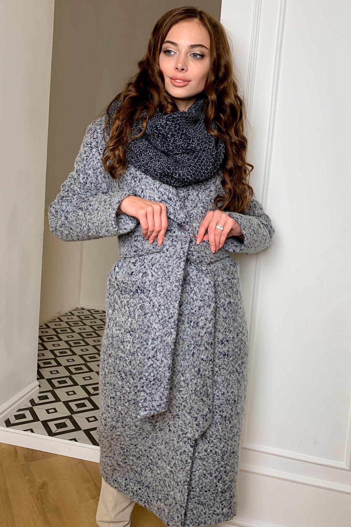Теплое зимнее пальто буклированная шерсть Вива макси 8349 АРТ. 44516 Цвет: Серый/голубой 60 - фото 2, интернет магазин tm-modus.ru