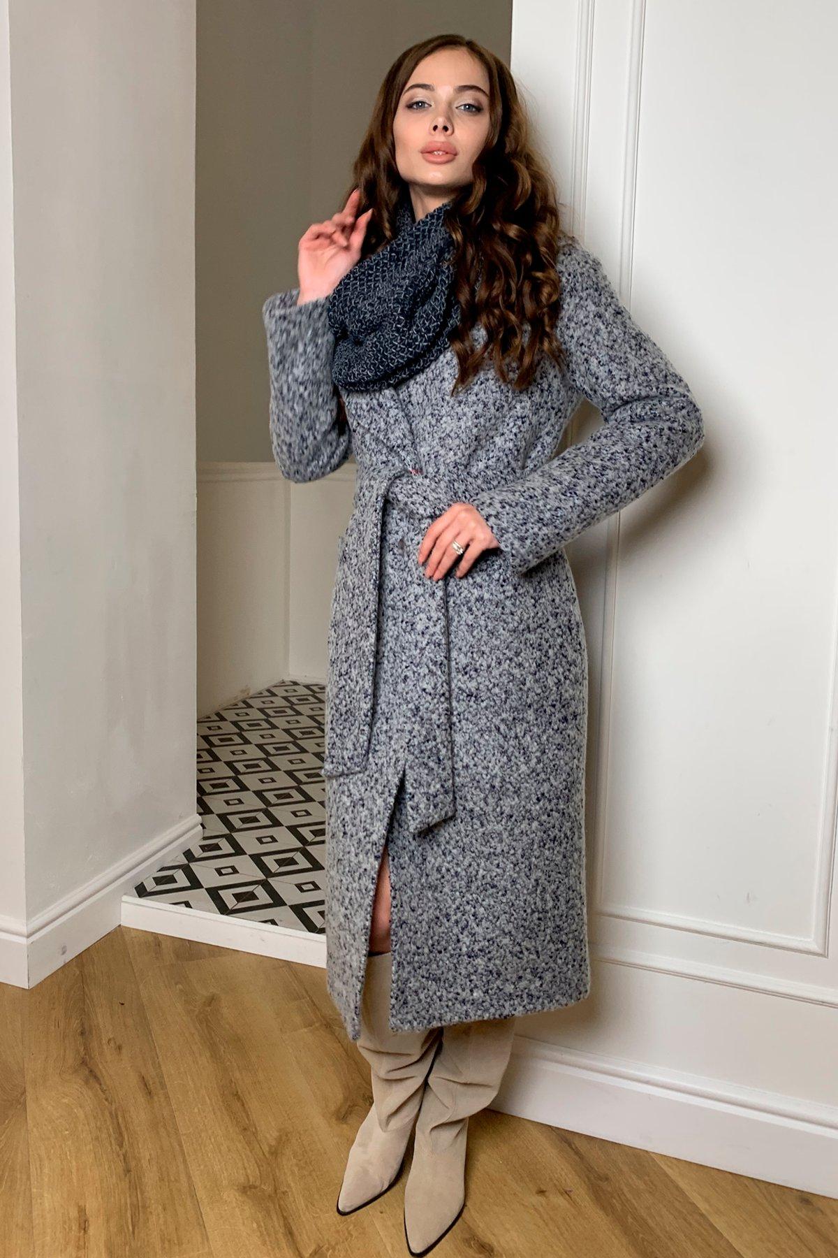 Теплое зимнее пальто буклированная шерсть Вива макси 8349 АРТ. 44516 Цвет: Серый/голубой 60 - фото 3, интернет магазин tm-modus.ru