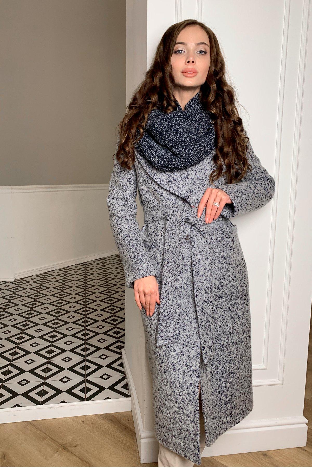 Теплое зимнее пальто буклированная шерсть Вива макси 8349 АРТ. 44516 Цвет: Серый/голубой 60 - фото 5, интернет магазин tm-modus.ru