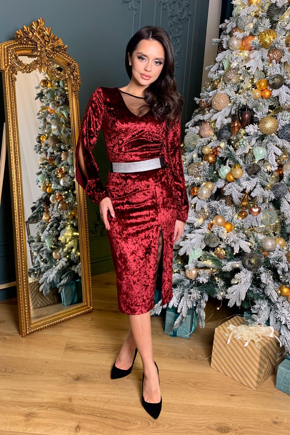 Нарядное велюровое платье Блек 8647 Цвет: марсала
