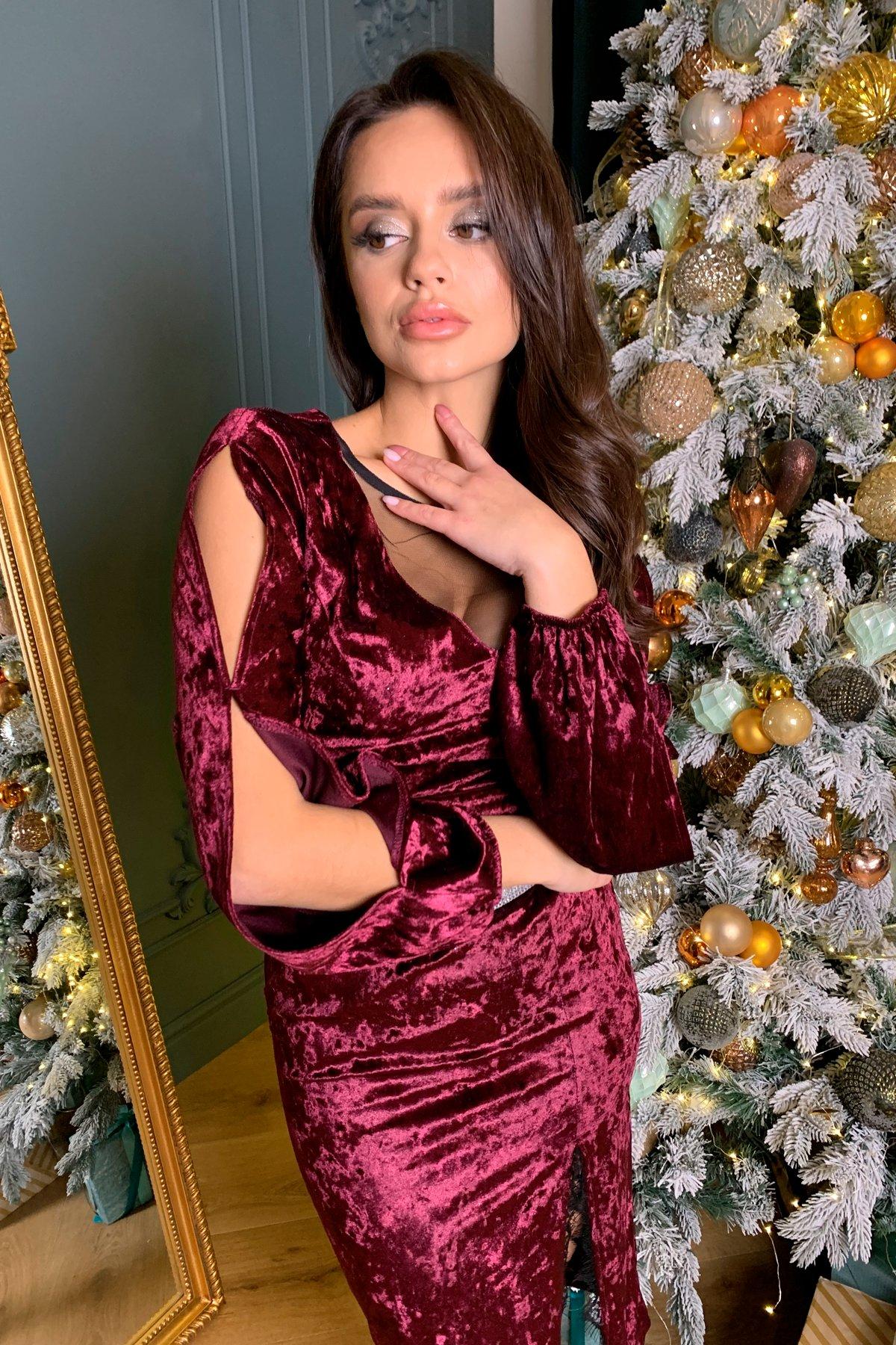 Нарядное велюровое платье Блек 8647 АРТ. 44965 Цвет: Винный - фото 2, интернет магазин tm-modus.ru
