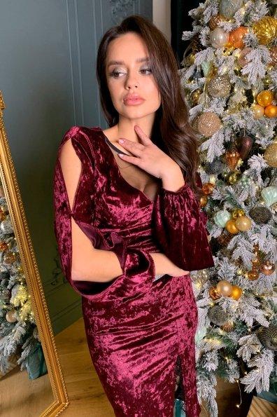 Нарядное велюровое платье Блек 8647 Цвет: Винный