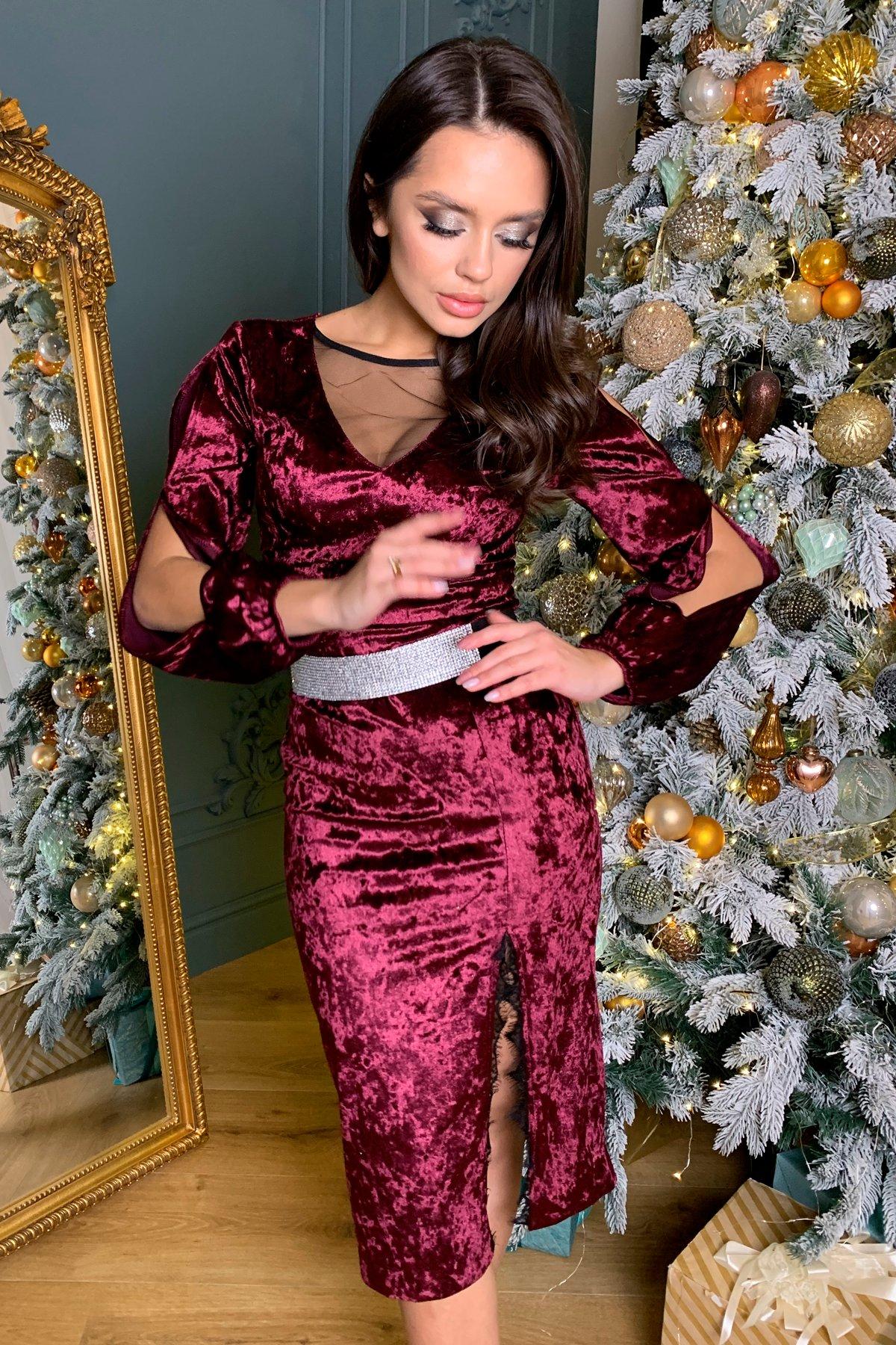 Нарядное велюровое платье Блек 8647 АРТ. 44965 Цвет: Винный - фото 5, интернет магазин tm-modus.ru