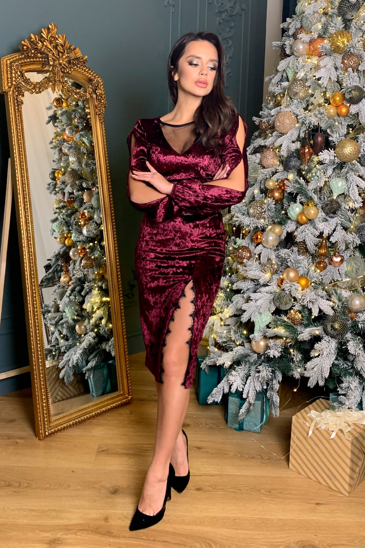 Нарядное велюровое платье Блек 8647 АРТ. 44965 Цвет: Винный - фото 6, интернет магазин tm-modus.ru