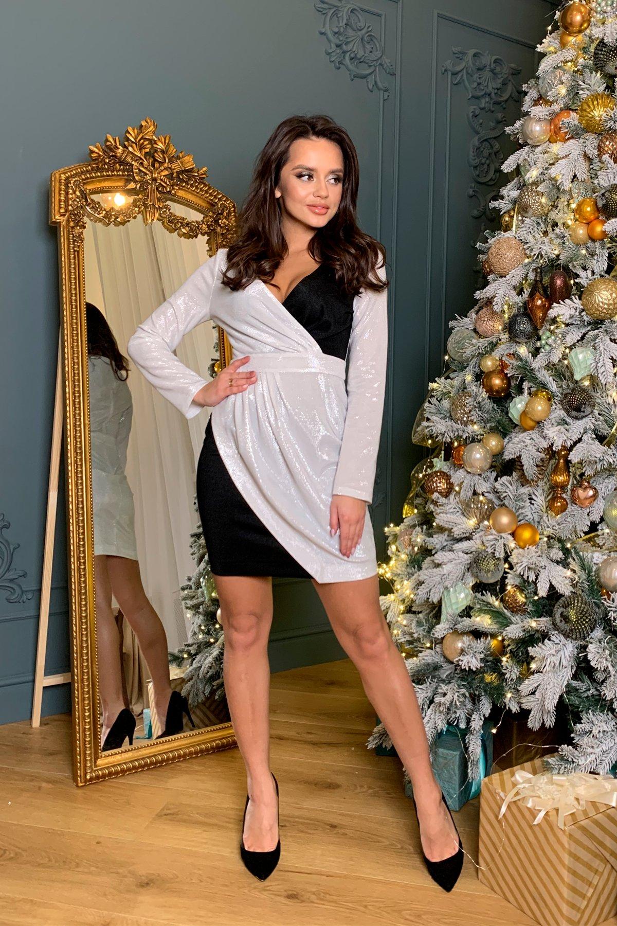 Контрастное двухцветное платье Блеск 8670 АРТ. 45001 Цвет: Серебро - фото 1, интернет магазин tm-modus.ru
