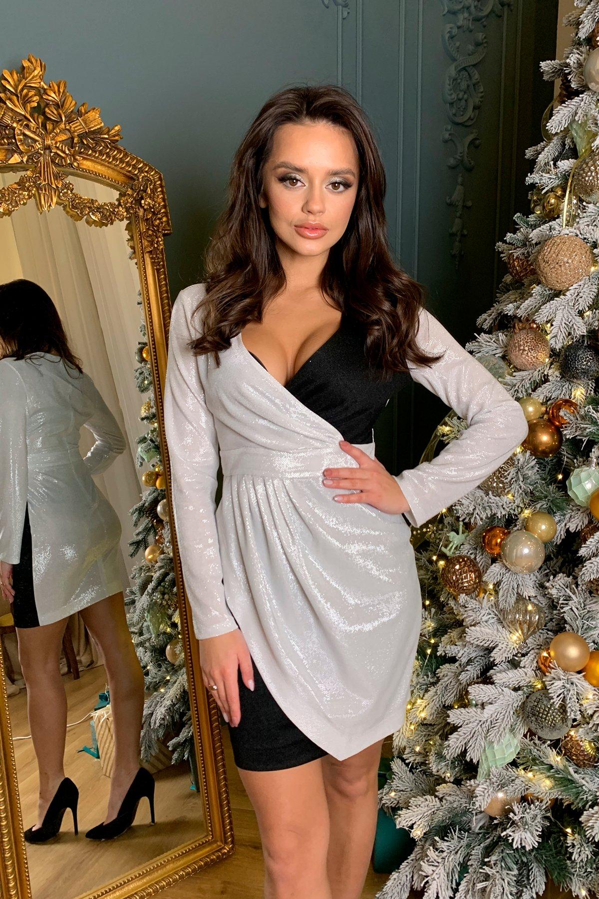 Контрастное двухцветное платье Блеск 8670 АРТ. 45001 Цвет: Серебро - фото 3, интернет магазин tm-modus.ru