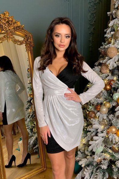 Контрастное двухцветное платье Блеск 8670 Цвет: Серебро