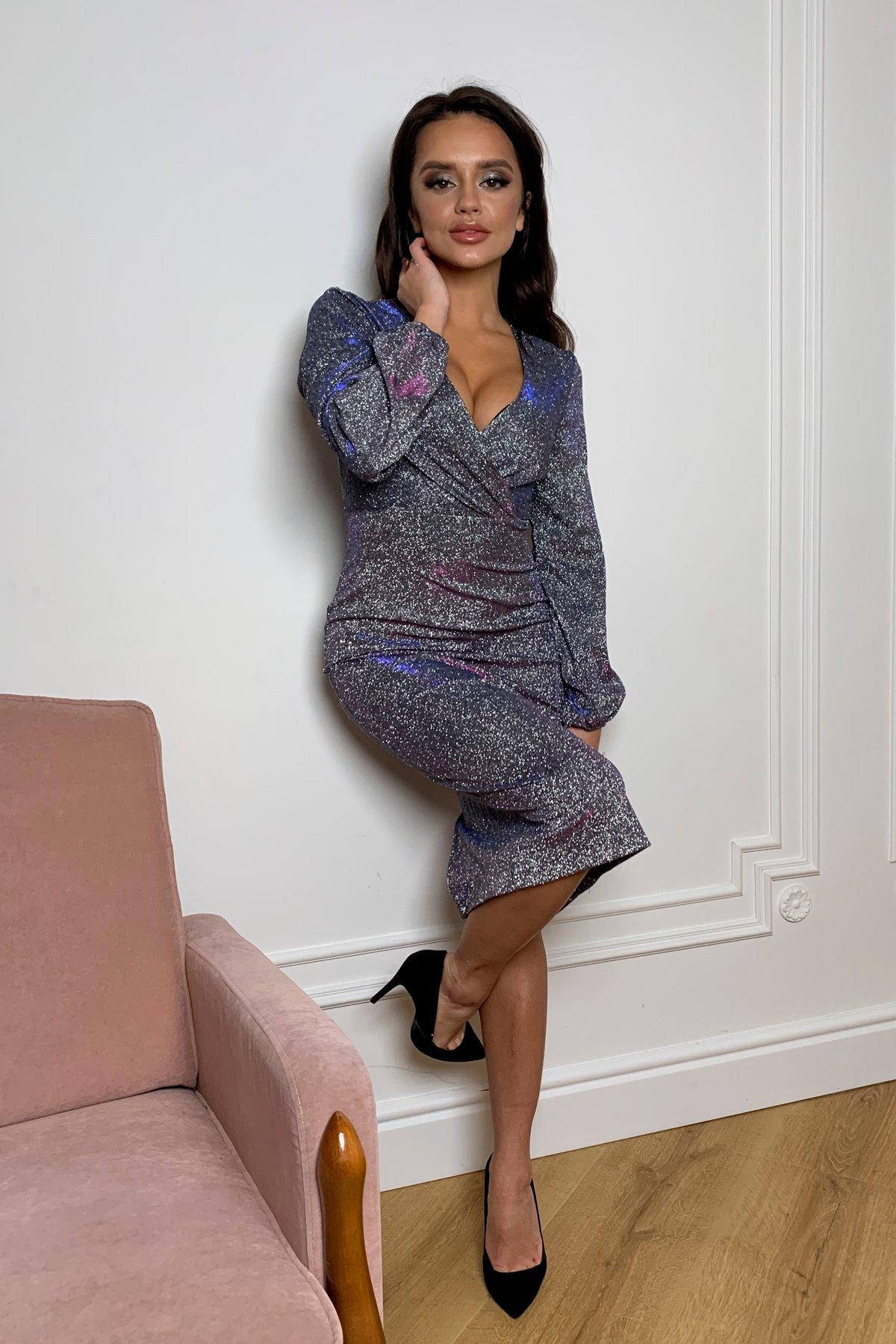 Нарядное платье с люрексом Фаселис 8527 АРТ. 45029 Цвет: Серебро/электрик/фиолет - фото 4, интернет магазин tm-modus.ru