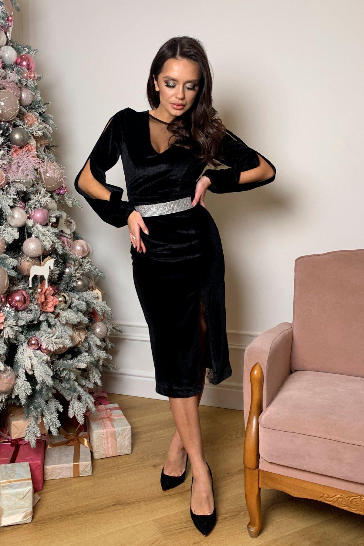 Нарядное велюровое платье Блек 8647 АРТ. 44963 Цвет: Черный - фото 2, интернет магазин tm-modus.ru