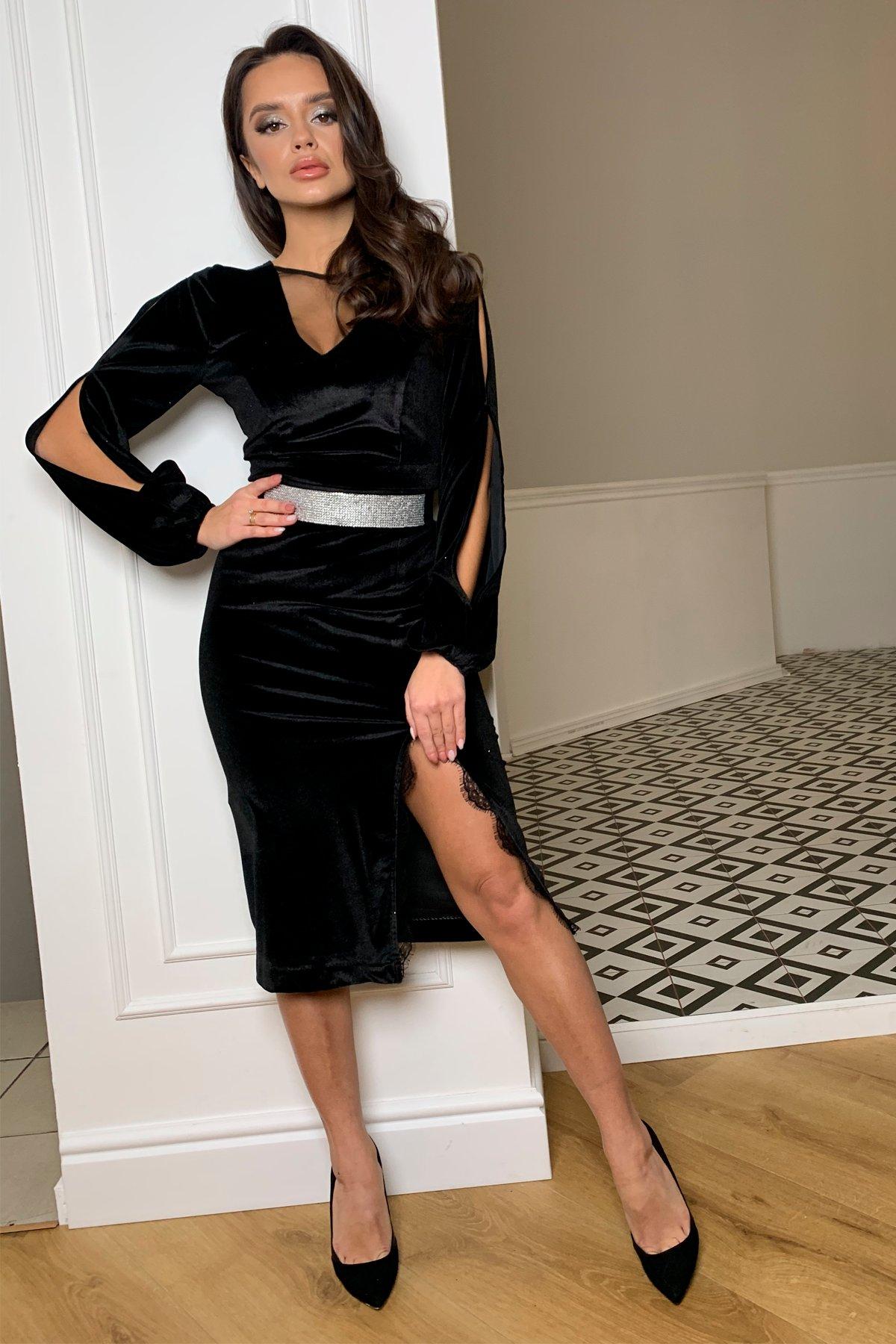 Нарядное велюровое платье Блек 8647 АРТ. 44963 Цвет: Черный - фото 4, интернет магазин tm-modus.ru