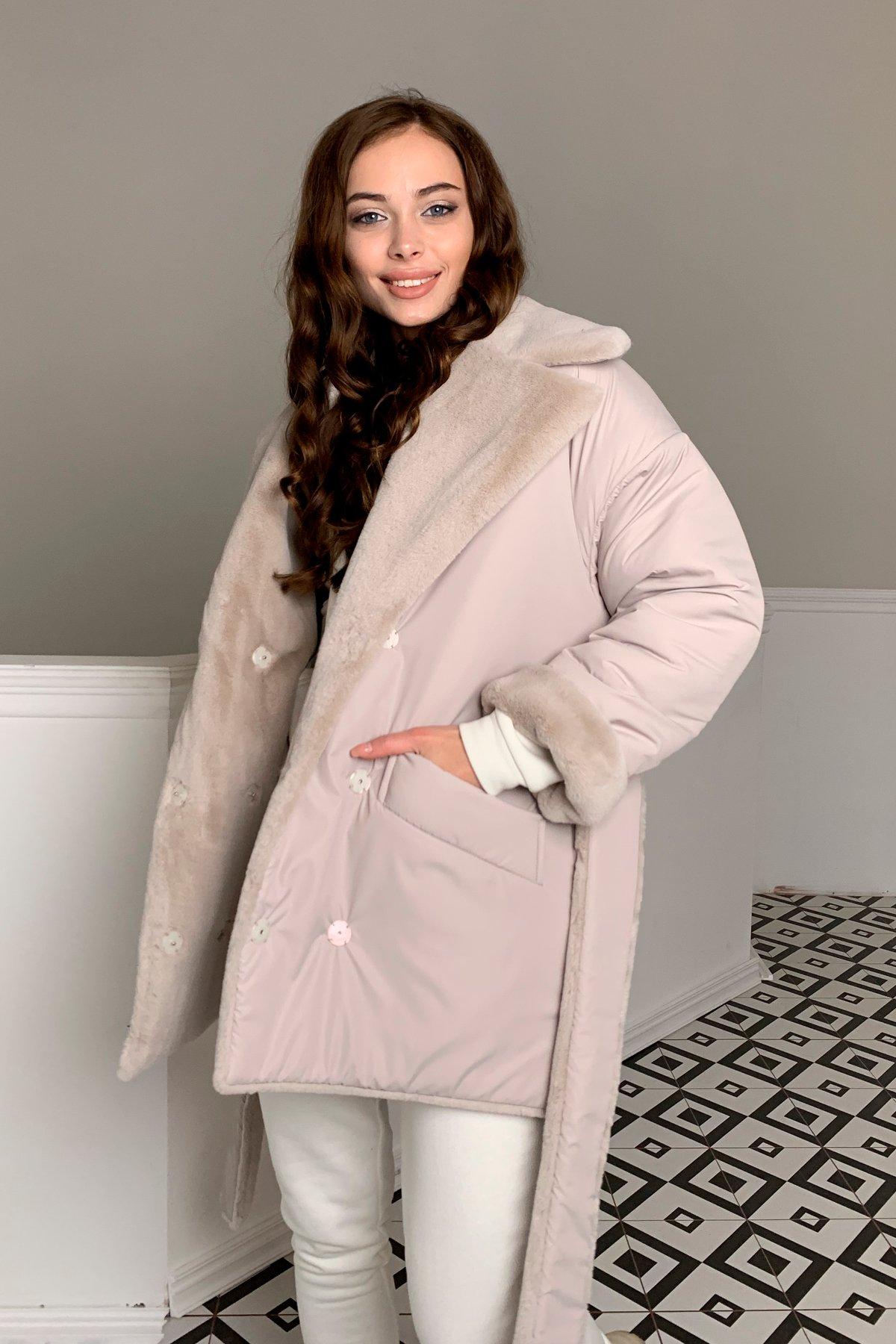 Вандер пальто мех искуственный кролик зима  10120 АРТ. 46624 Цвет: св.серый/бежевый511 - фото 3, интернет магазин tm-modus.ru