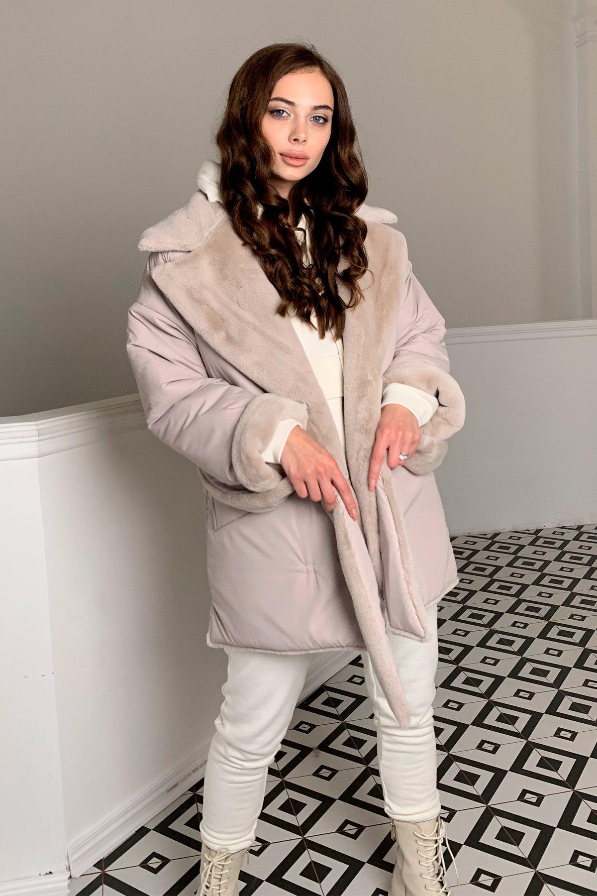 Вандер пальто мех искуственный кролик зима  10120 АРТ. 46624 Цвет: св.серый/бежевый511 - фото 5, интернет магазин tm-modus.ru