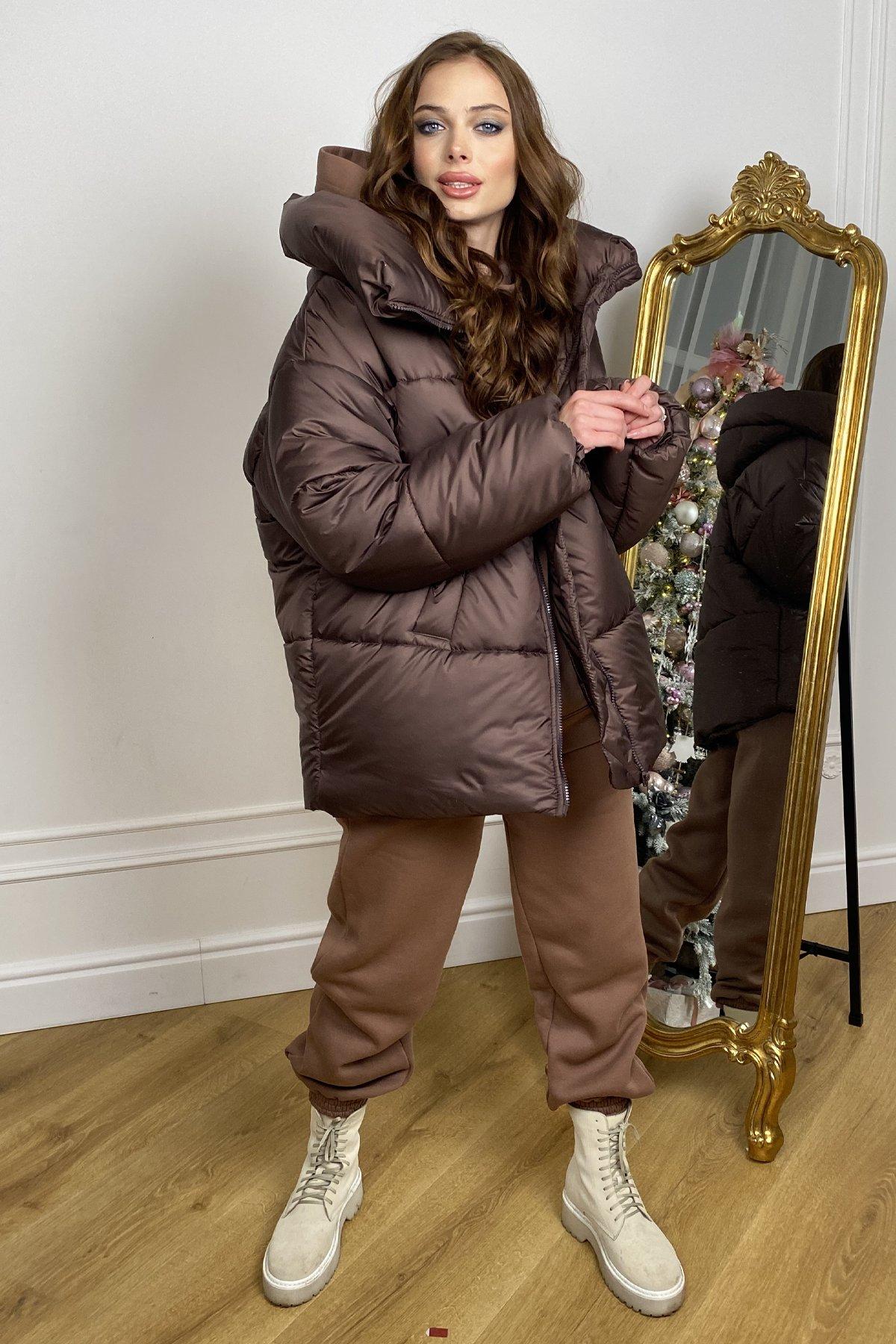 Овертайм  теплый пуховик из матовой плащевой ткани 10245 АРТ. 46627 Цвет: Шоколад - фото 1, интернет магазин tm-modus.ru