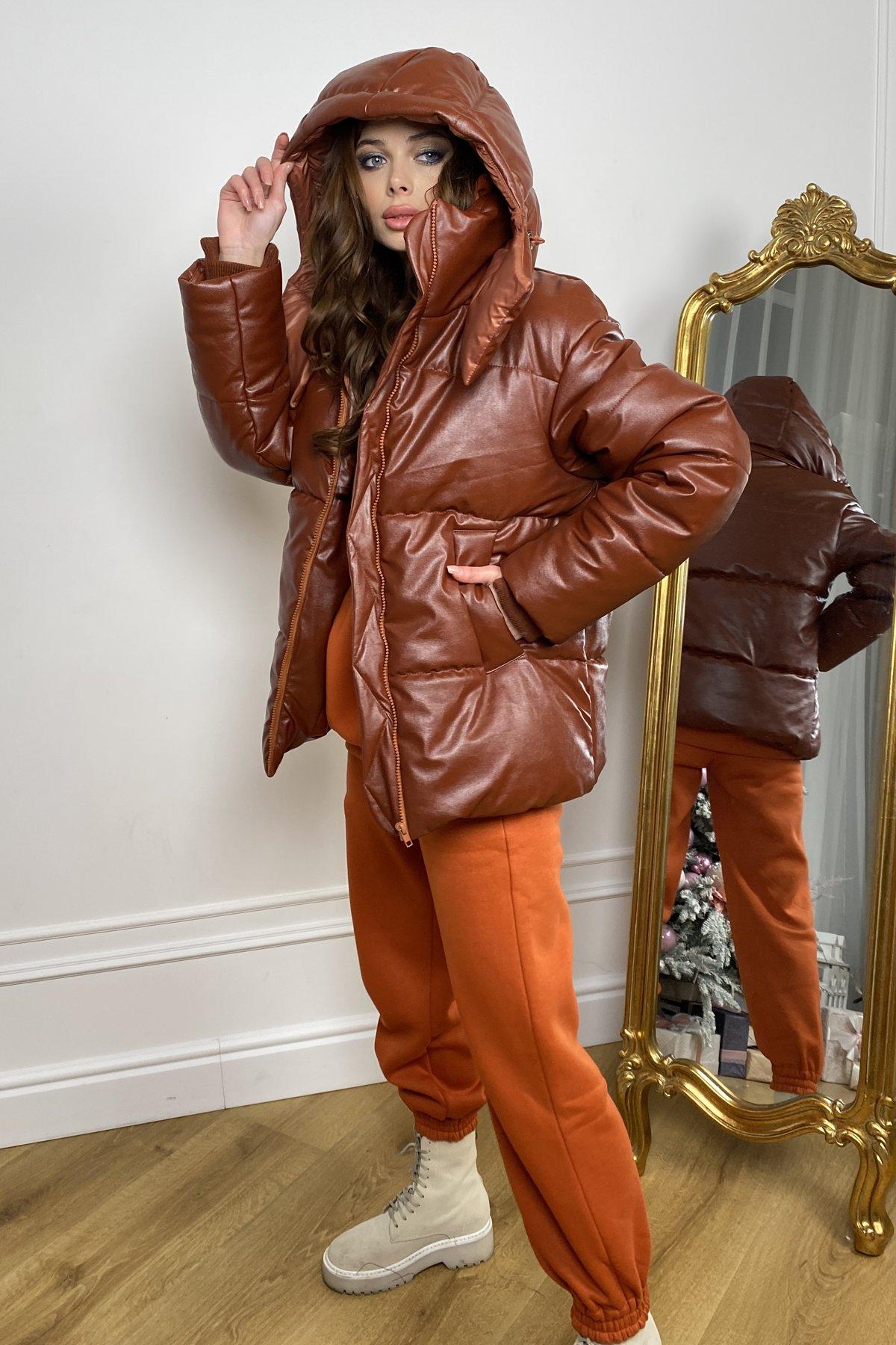 куртка женская купить Рич пуховик из экокожи 10058