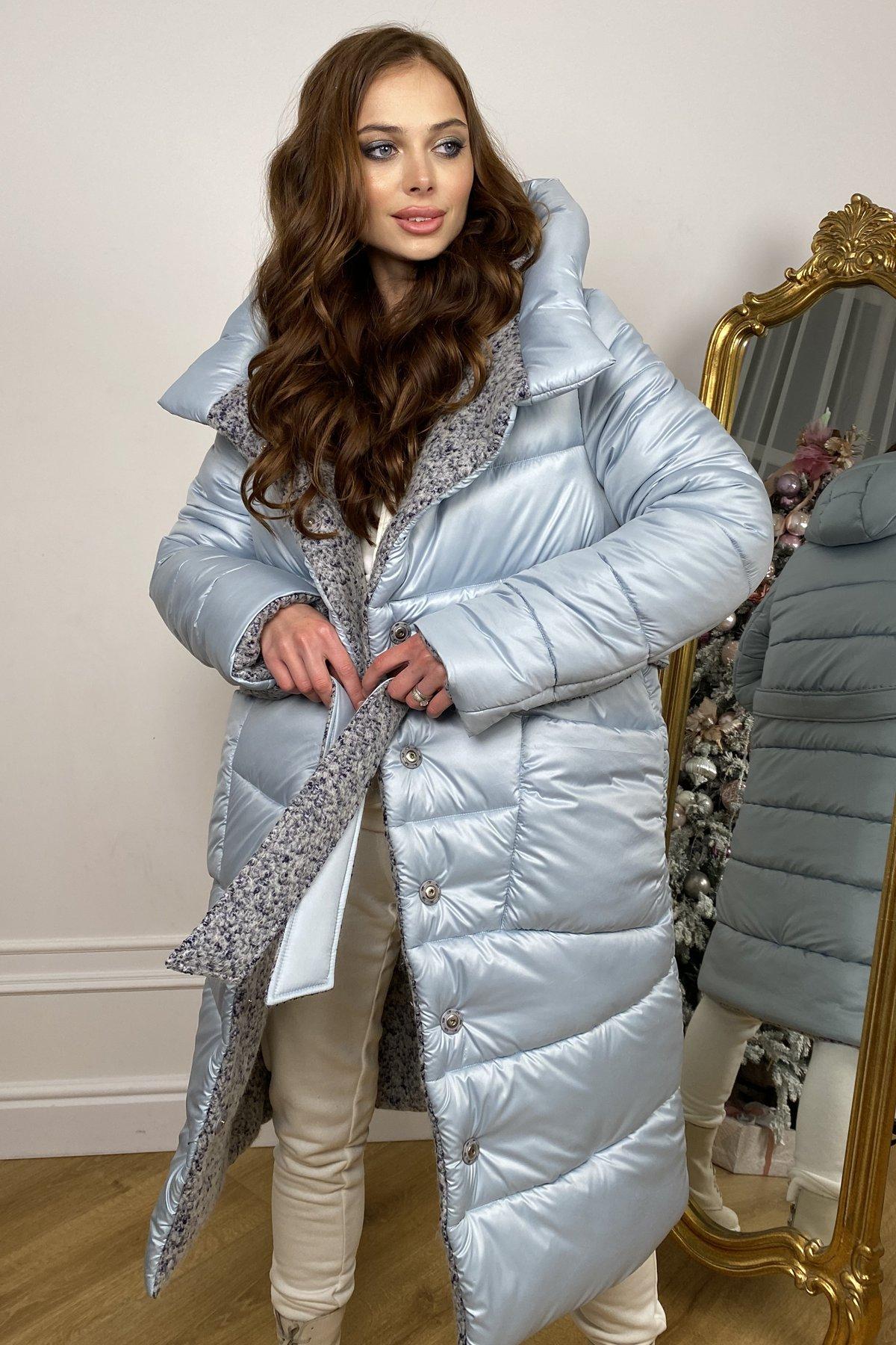 Бристоль плащевка стеганое пальто зима 10099 АРТ. 46407 Цвет: голубой/серый/голубой - фото 1, интернет магазин tm-modus.ru