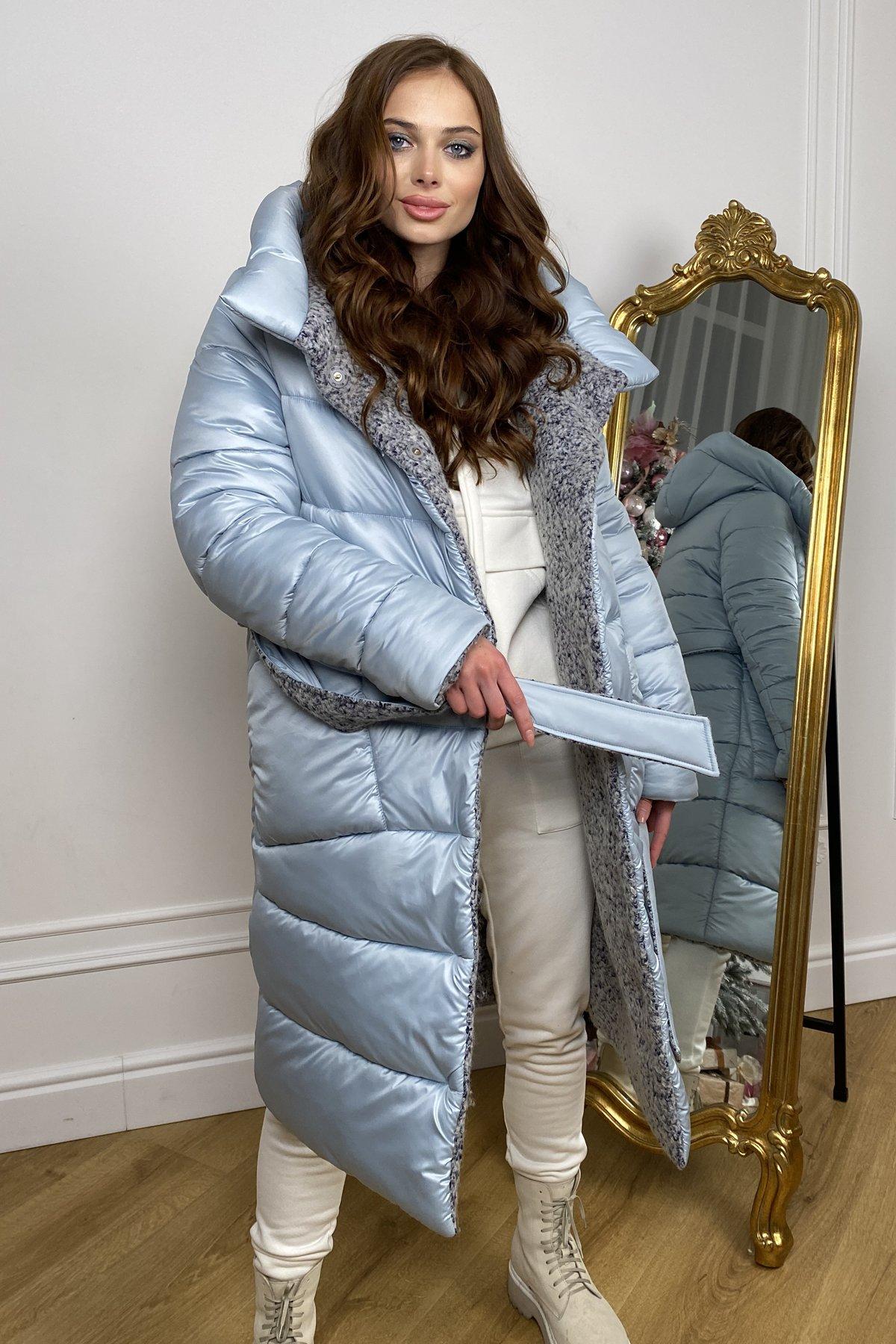 Бристоль плащевка стеганое пальто зима 10099 АРТ. 46407 Цвет: голубой/серый/голубой - фото 2, интернет магазин tm-modus.ru