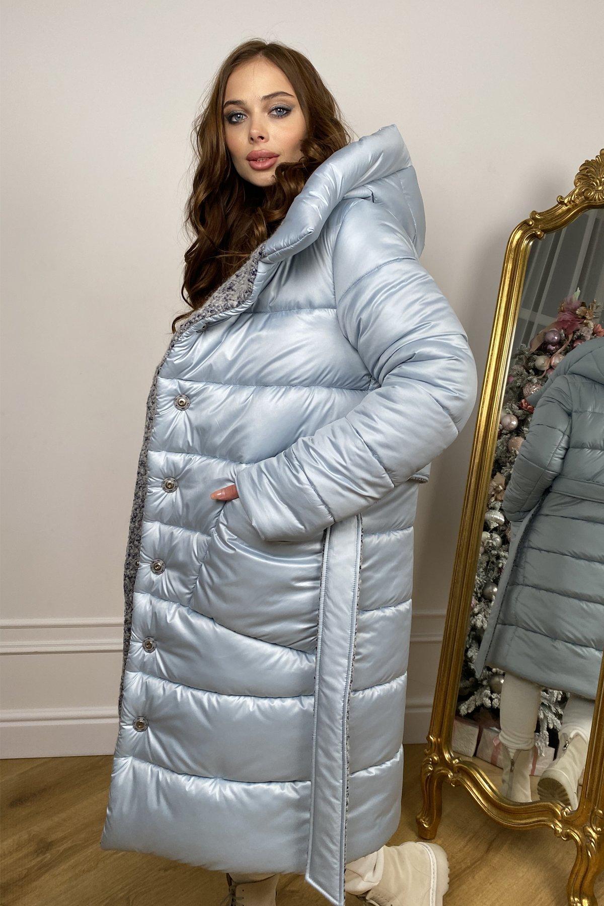 Бристоль плащевка стеганое пальто зима 10099 АРТ. 46407 Цвет: голубой/серый/голубой - фото 3, интернет магазин tm-modus.ru