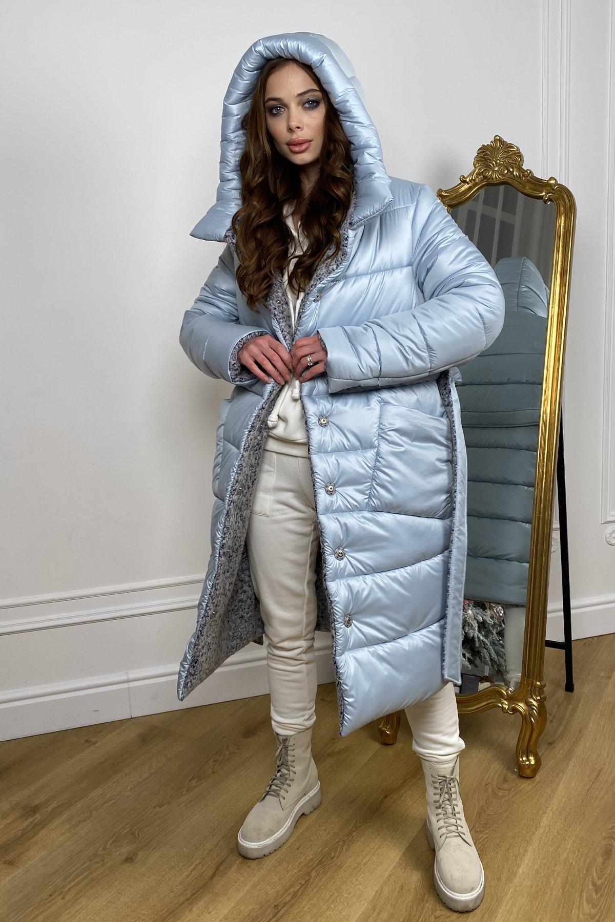 Бристоль плащевка стеганое пальто зима 10099 АРТ. 46407 Цвет: голубой/серый/голубой - фото 4, интернет магазин tm-modus.ru