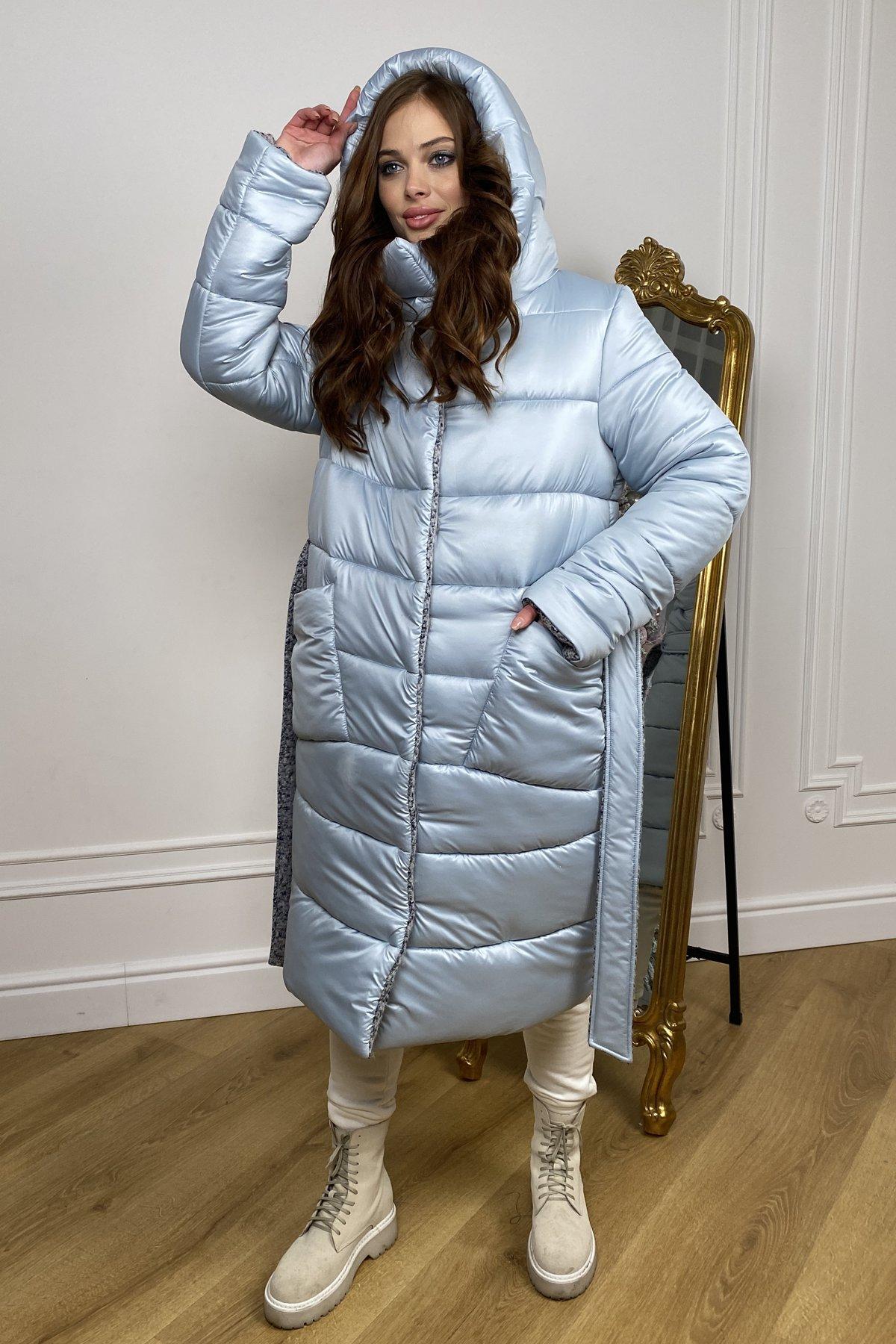 Бристоль плащевка стеганое пальто зима 10099 АРТ. 46407 Цвет: голубой/серый/голубой - фото 5, интернет магазин tm-modus.ru