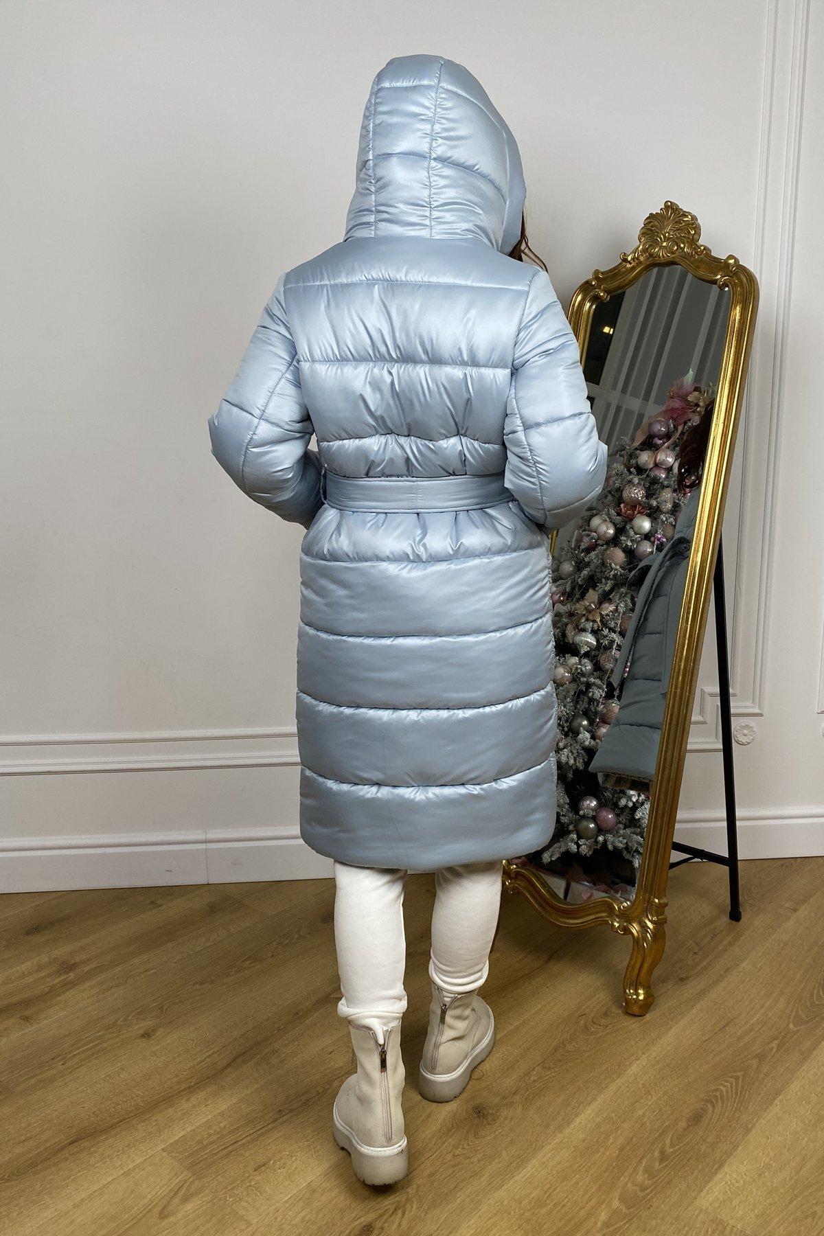 Бристоль плащевка стеганое пальто зима 10099 АРТ. 46407 Цвет: голубой/серый/голубой - фото 8, интернет магазин tm-modus.ru
