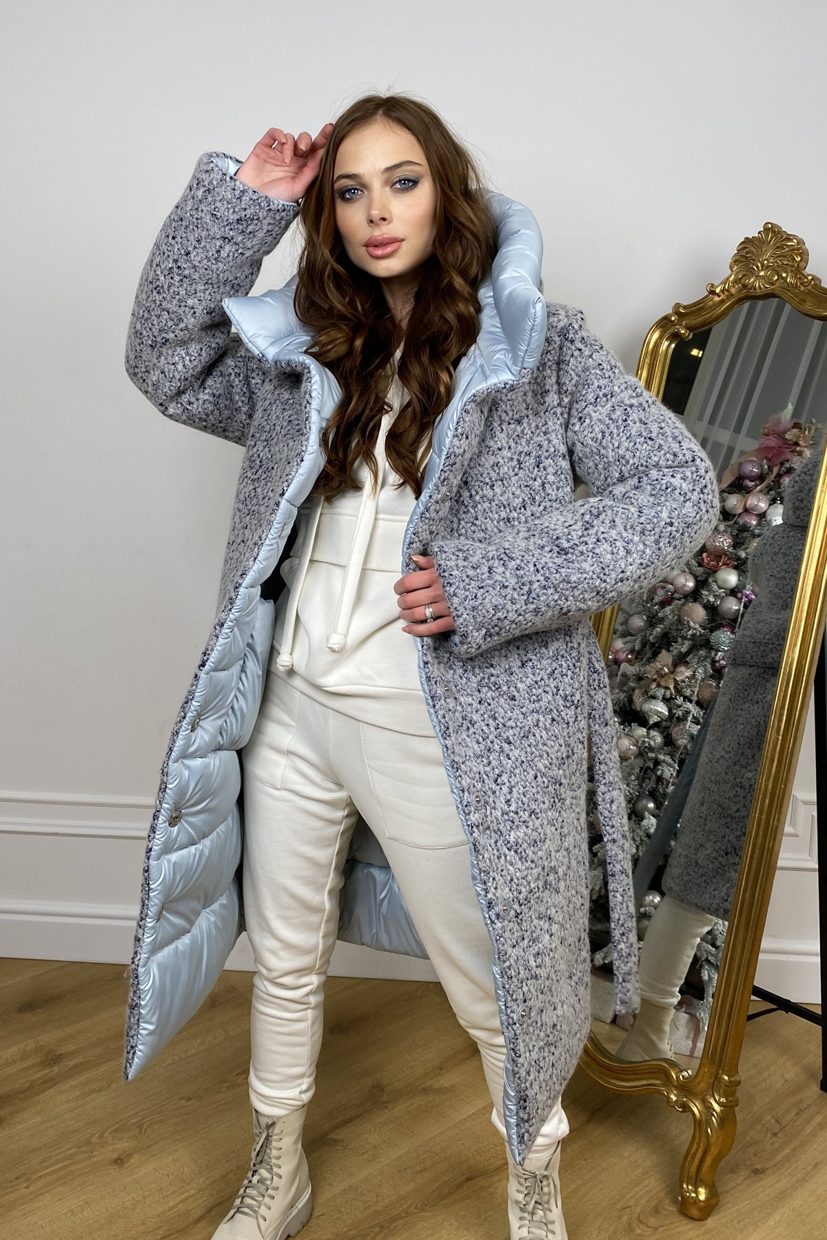 Бристоль плащевка стеганое пальто зима 10099 АРТ. 46407 Цвет: голубой/серый/голубой - фото 9, интернет магазин tm-modus.ru