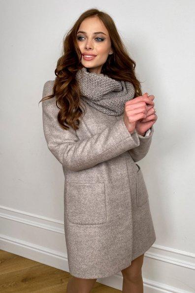 Пальто зима с хомутом Мелини 5644 Цвет: Бежевый 31