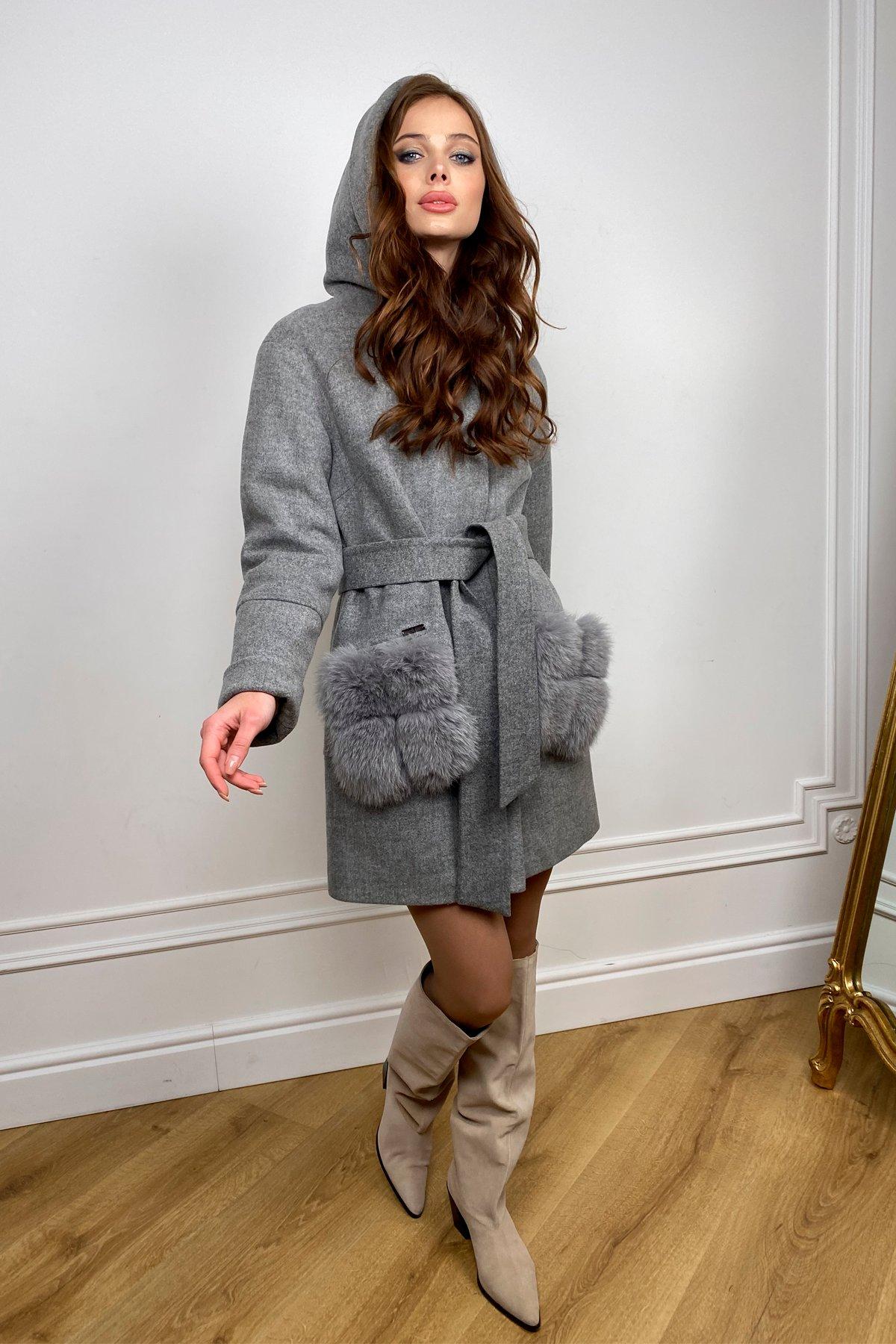 Зимнее пальто с меховыми карманами Анита 3820 Цвет: Серый 18
