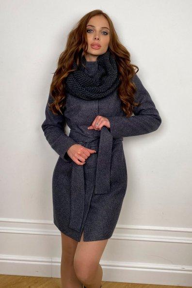 Пальто женское зимнее Габи 8295 с шарфом-трубой Цвет: т. синий 543