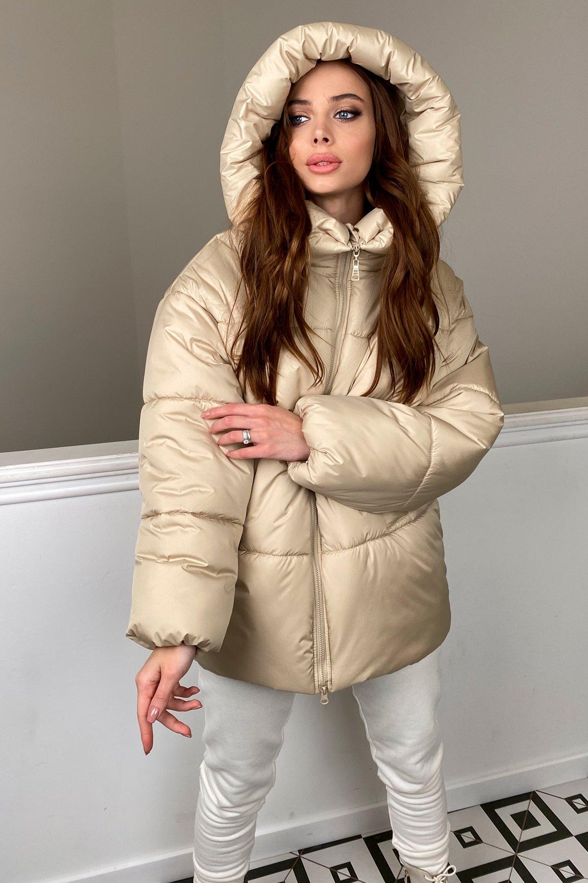 куртка женская купить  Овертайм  теплый пуховик из матовой плащевой ткани 10245